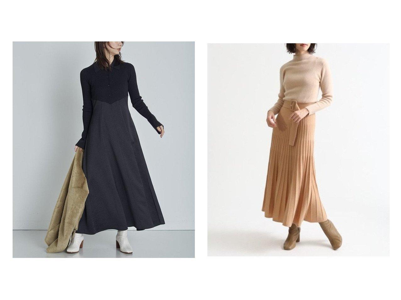 【FRAY I.D/フレイ アイディー】のポロカラーニットコンビワンピ&ウールカシミアバイカラーワンピ ワンピース・ドレスのおすすめ!人気、レディースファッションの通販  おすすめで人気のファッション通販商品 インテリア・家具・キッズファッション・メンズファッション・レディースファッション・服の通販 founy(ファニー) https://founy.com/ ファッション Fashion レディース WOMEN ワンピース Dress マキシワンピース Maxi Dress コンビ サテン ドッキング フィット マキシ ロング ヴィンテージ カシミア フレア プリーツ |ID:crp329100000003377