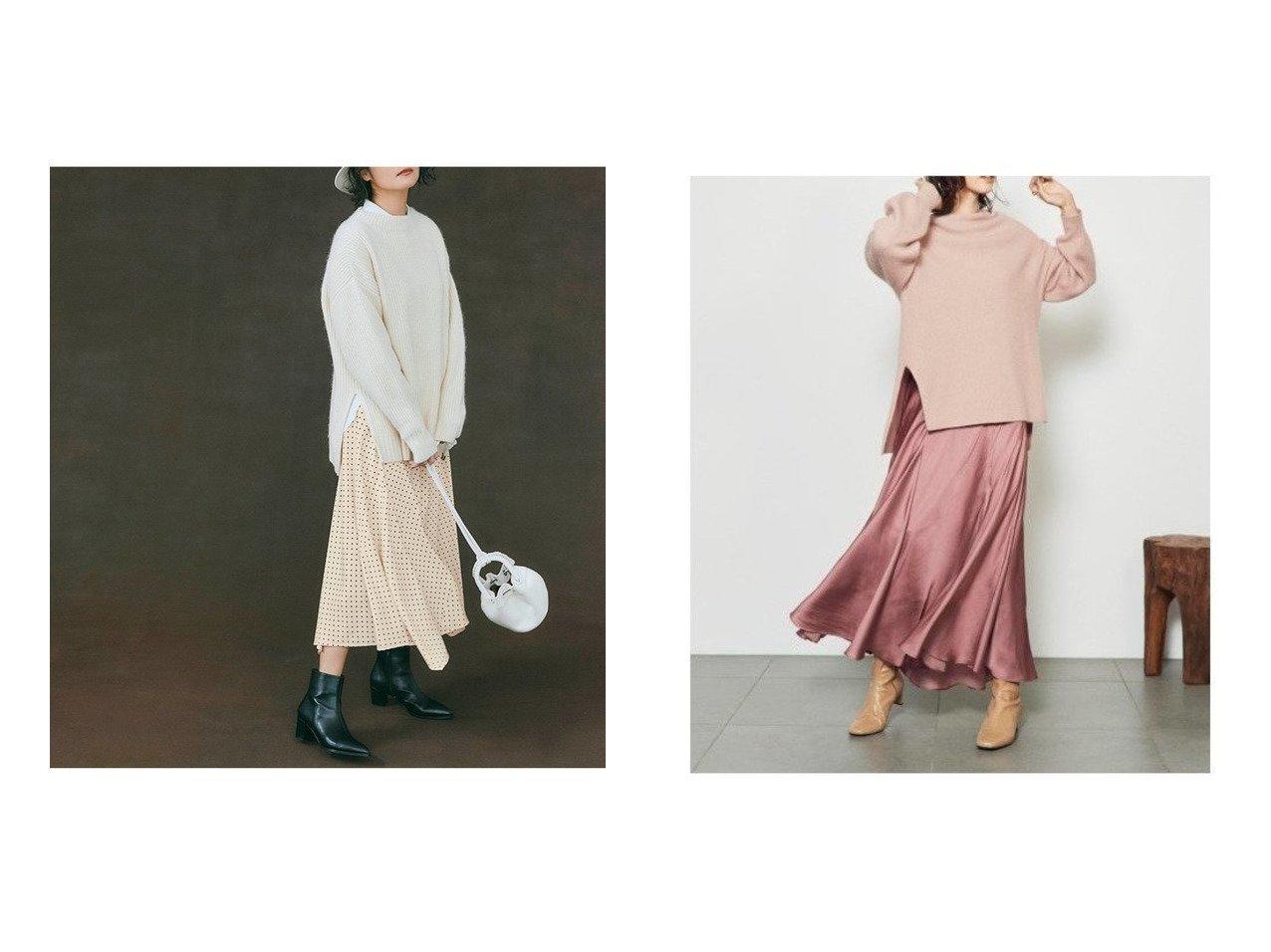 【SNIDEL/スナイデル】のニットスカートセットアップ&【Mystrada/マイストラーダ】のドットスカートセット ワンピース・ドレスのおすすめ!人気、レディースファッションの通販  おすすめで人気のファッション通販商品 インテリア・家具・キッズファッション・メンズファッション・レディースファッション・服の通販 founy(ファニー) https://founy.com/ ファッション Fashion レディース WOMEN トップス Tops Tshirt セットアップ Setup トップス Tops スカート Skirt ニット Knit Tops セットアップ ドット バランス リラックス イエロー インナー エレガント スマート スリット フレア ロング |ID:crp329100000003391