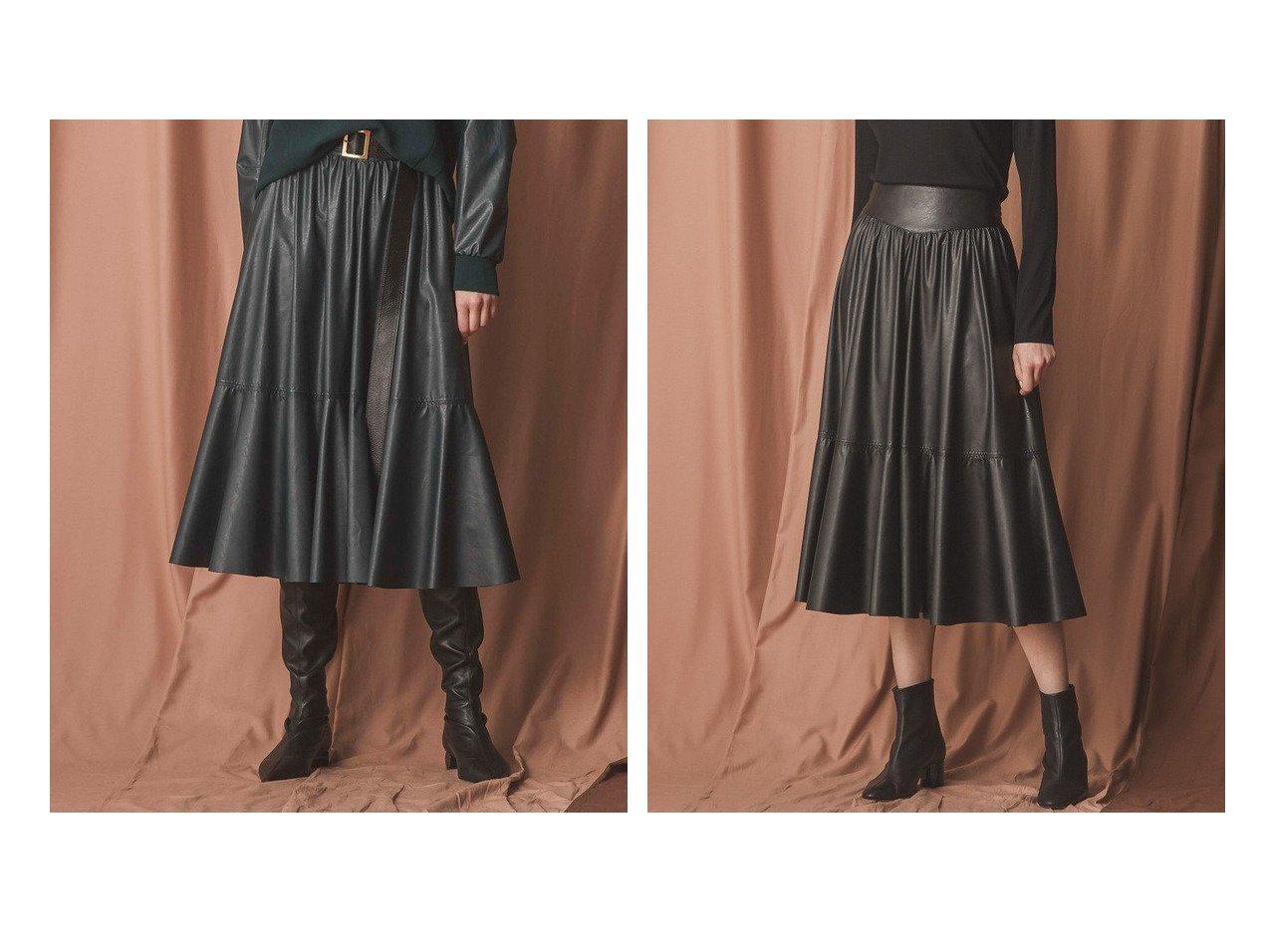 【EPOCA/エポカ】の【アナウンサー着用】シンセティックレザースカート おすすめ!人気、レディースファッションの通販  おすすめで人気のファッション通販商品 インテリア・家具・キッズファッション・メンズファッション・レディースファッション・服の通販 founy(ファニー) https://founy.com/ ファッション Fashion レディース WOMEN スカート Skirt Aライン/フレアスカート Flared A-Line Skirts ビンテージ フレア |ID:crp329100000003640
