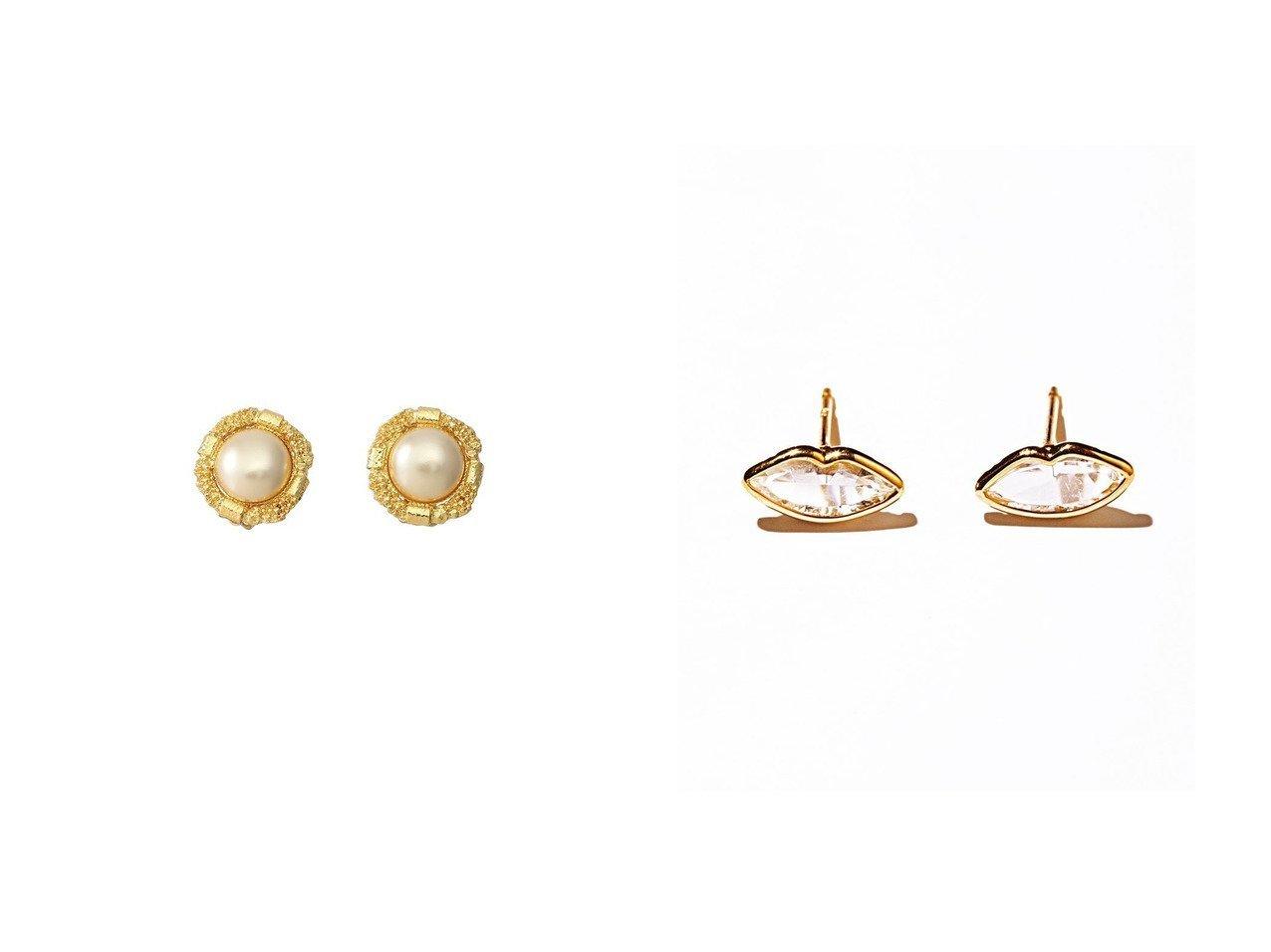 【les bonbon/ルボンボン】のpetite lip イエローゴールドピアス&【CECILE ET JEANNE/セシル エ ジャンヌ】のパールイヤリング アクセサリー・ジュエリーのおすすめ!人気、レディースファッションの通販  おすすめで人気のファッション通販商品 インテリア・家具・キッズファッション・メンズファッション・レディースファッション・服の通販 founy(ファニー) https://founy.com/ ファッション Fashion レディース WOMEN ジュエリー Jewelry リング Rings イヤリング Earrings イヤリング ジュエリー パール イエロー コレクション フェミニン フォルム モチーフ リップ |ID:crp329100000003796