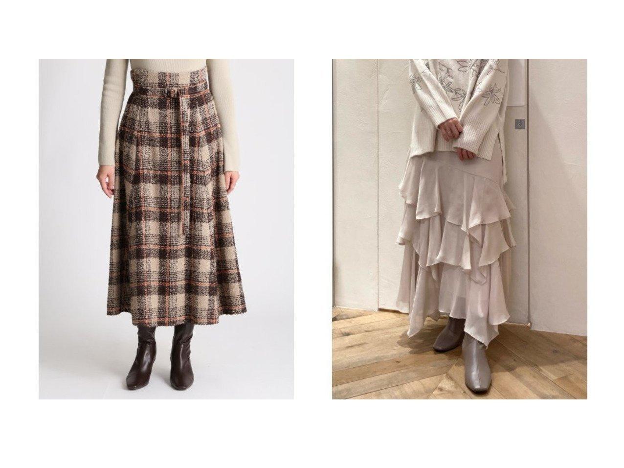 【Mila Owen/ミラオーウェン】のループチェックマキシフレアスカート&【SNIDEL/スナイデル】のボリュームフレアスカート スカートのおすすめ!人気、レディースファッションの通販  おすすめで人気のファッション通販商品 インテリア・家具・キッズファッション・メンズファッション・レディースファッション・服の通販 founy(ファニー) https://founy.com/ ファッション Fashion レディース WOMEN スカート Skirt Aライン/フレアスカート Flared A-Line Skirts スマート チェック フレア ロング エアリー ドット 定番 人気 パープル  ID:crp329100000004031