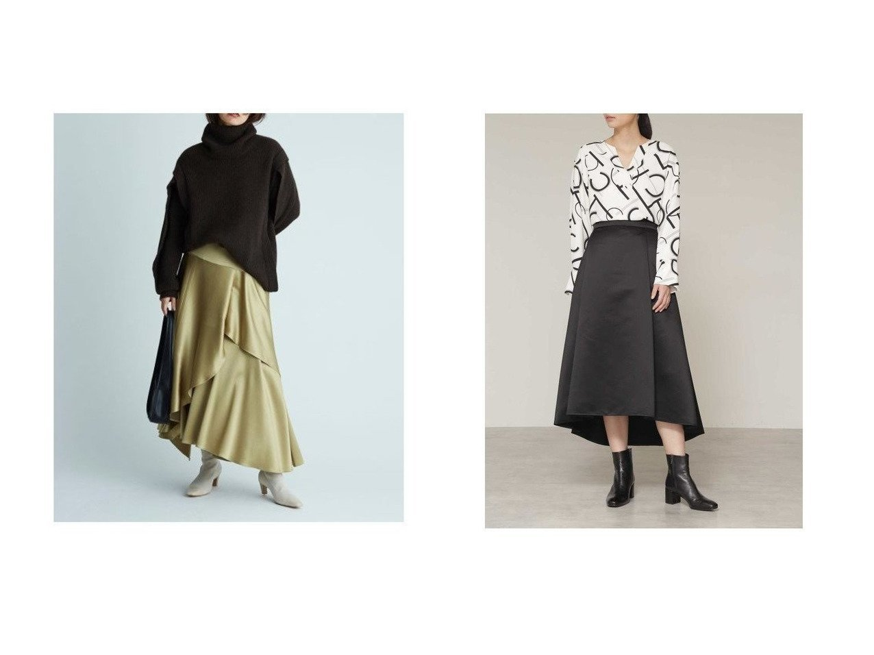 【FRAY I.D/フレイ アイディー】のサテンフレアスカート&【BOSCH/ボッシュ】のサテンフィッシュテールスカート スカートのおすすめ!人気、レディースファッションの通販  おすすめで人気のファッション通販商品 インテリア・家具・キッズファッション・メンズファッション・レディースファッション・服の通販 founy(ファニー) https://founy.com/ ファッション Fashion レディース WOMEN スカート Skirt Aライン/フレアスカート Flared A-Line Skirts イエロー ギャザー サテン スマート ティアード ドレープ フレア  ID:crp329100000004036