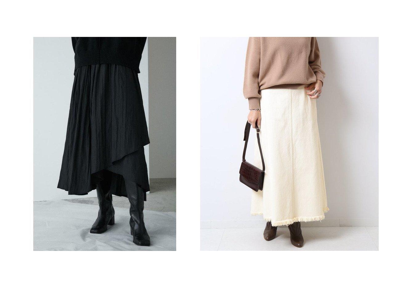 【moussy/マウジー】のASYMMETRY WRAP スカート&【Spick & Span/スピック&スパン】のデニムトラペーズラインスカート スカートのおすすめ!人気、レディースファッションの通販  おすすめで人気のファッション通販商品 インテリア・家具・キッズファッション・メンズファッション・レディースファッション・服の通販 founy(ファニー) https://founy.com/ ファッション Fashion レディース WOMEN スカート Skirt Aライン/フレアスカート Flared A-Line Skirts ラップ ロング ワッシャー シンプル デニム フリンジ フレア  ID:crp329100000004039