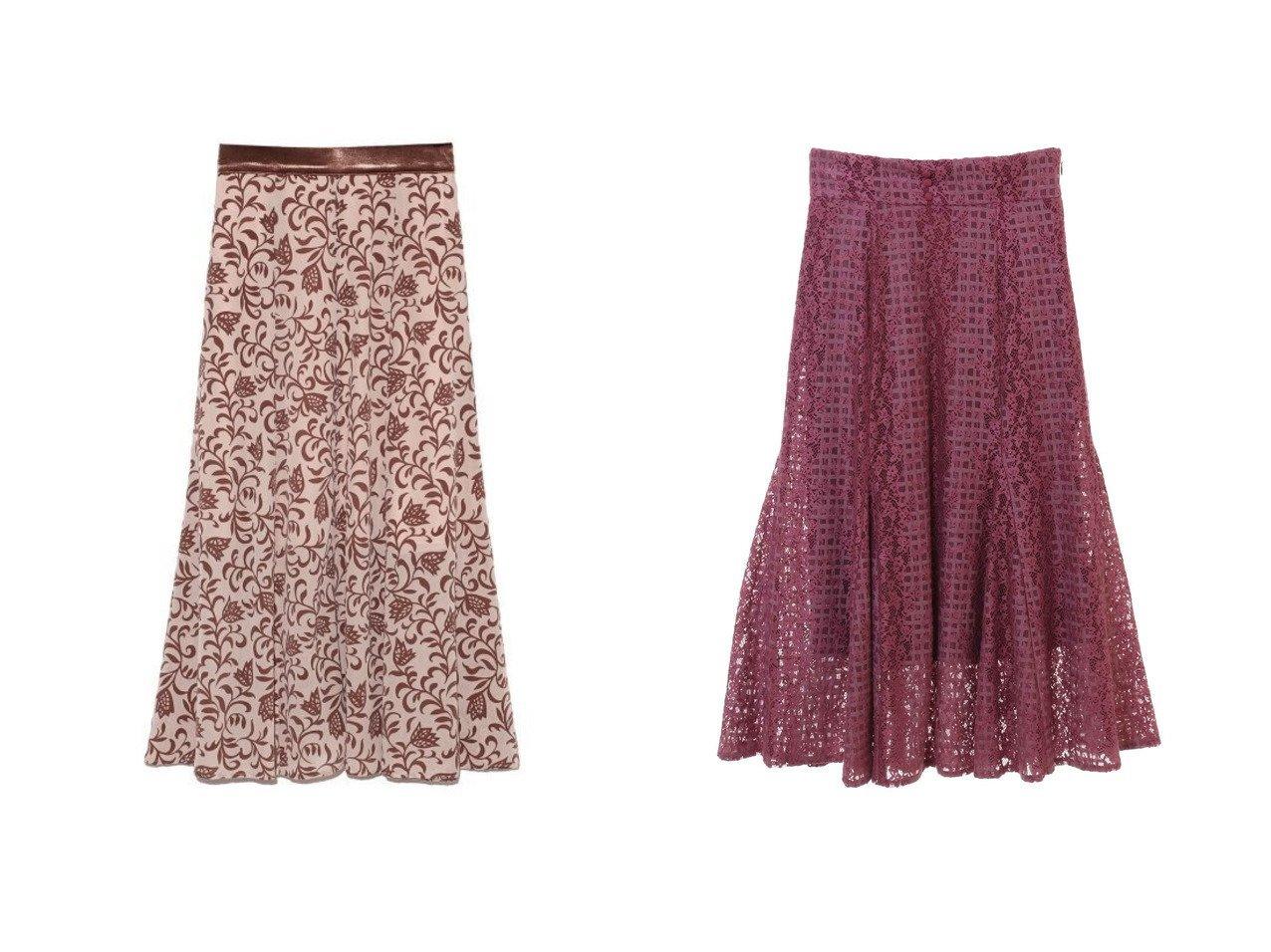 【31 Sons de mode/トランテアン ソン ドゥ モード】のモールレーススカート&【Lily Brown/リリーブラウン】のフラワーフロッキースカート スカートのおすすめ!人気、レディースファッションの通販  おすすめで人気のファッション通販商品 インテリア・家具・キッズファッション・メンズファッション・レディースファッション・服の通販 founy(ファニー) https://founy.com/ ファッション Fashion レディース WOMEN ワンピース Dress スカート Skirt Aライン/フレアスカート Flared A-Line Skirts オリエンタル スリット フレア ベロア ヴィンテージ 冬 Winter ギャザー レース  ID:crp329100000004041