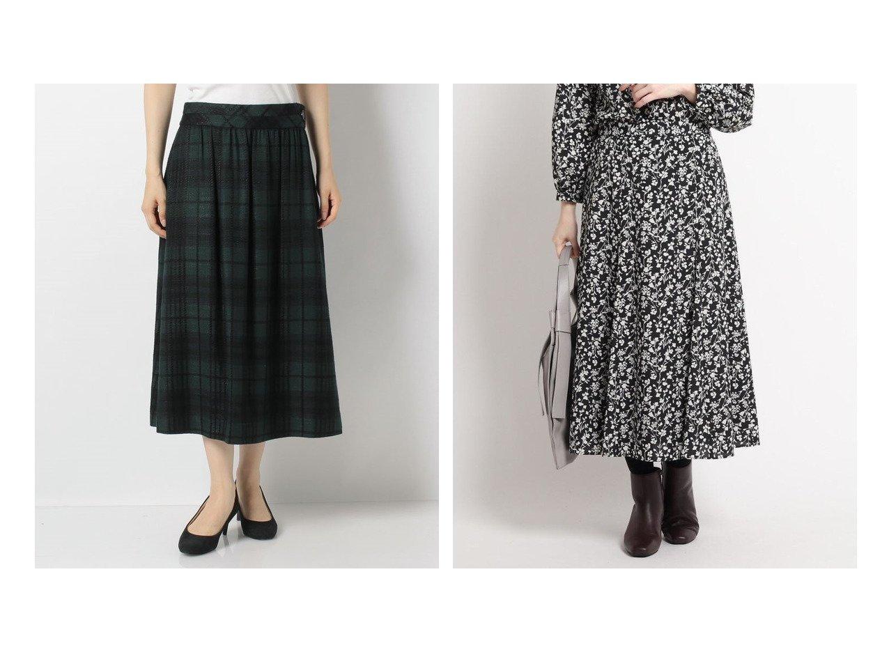 【OLD ENGLAND/オールド イングランド】のウールレーヨンツィードスカート&【Reflect/リフレクト】のアンティークフラワースカート スカートのおすすめ!人気、レディースファッションの通販  おすすめファッション通販アイテム インテリア・キッズ・メンズ・レディースファッション・服の通販 founy(ファニー) ファッション Fashion レディース WOMEN スカート Skirt Aライン/フレアスカート Flared A-Line Skirts ギャザー ツイード ファブリック フレア クラシカル プリント ロング グリーン系 Green ブラック系 Black |ID:crp329100000004053