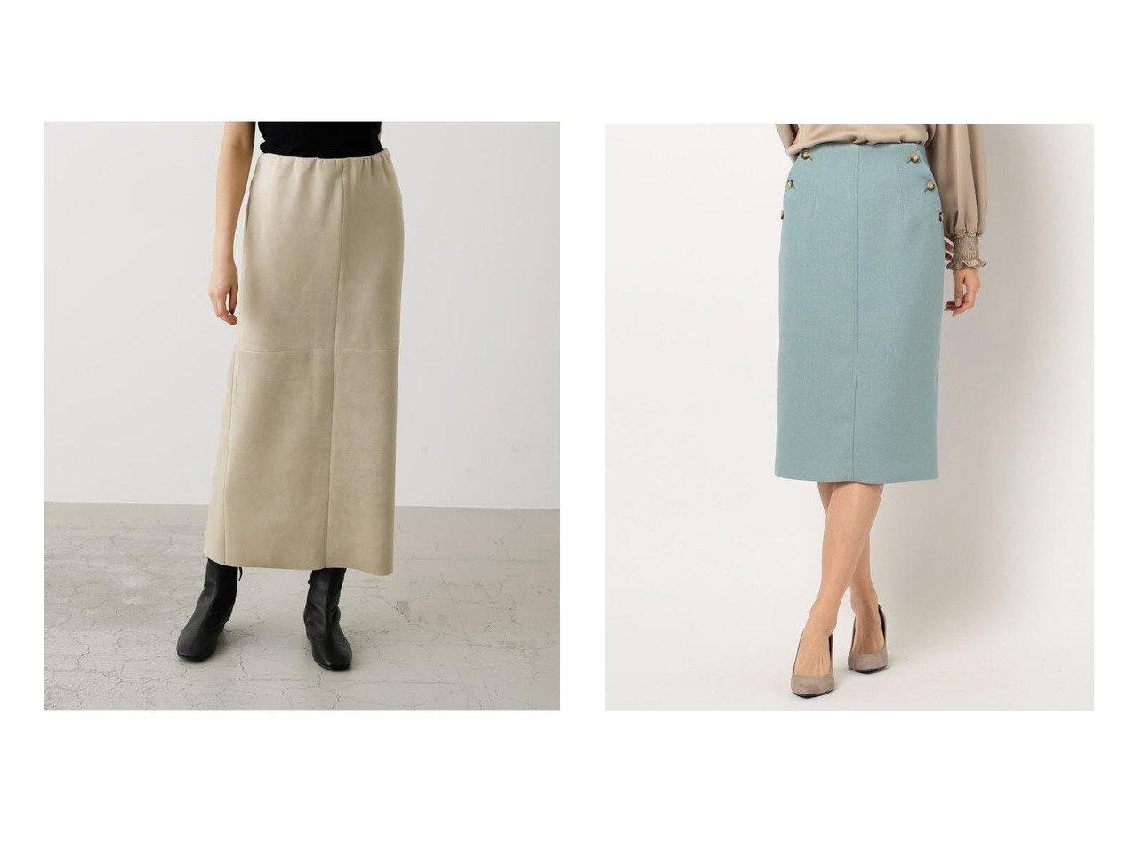 【NOLLEY'S/ノーリーズ】のサイド釦ヘリンボンタイトスカート&【AZUL by moussy/アズール バイ マウジー】のFAKE SUEDE SLIT SKIRT スカートのおすすめ!人気、レディースファッションの通販  おすすめで人気のファッション通販商品 インテリア・家具・キッズファッション・メンズファッション・レディースファッション・服の通販 founy(ファニー) https://founy.com/ ファッション Fashion レディース WOMEN スカート Skirt 冬 Winter なめらか スエード ストレッチ バランス ペンシル ミドル クラシカル シンプル タイトスカート ヘリンボーン |ID:crp329100000004056