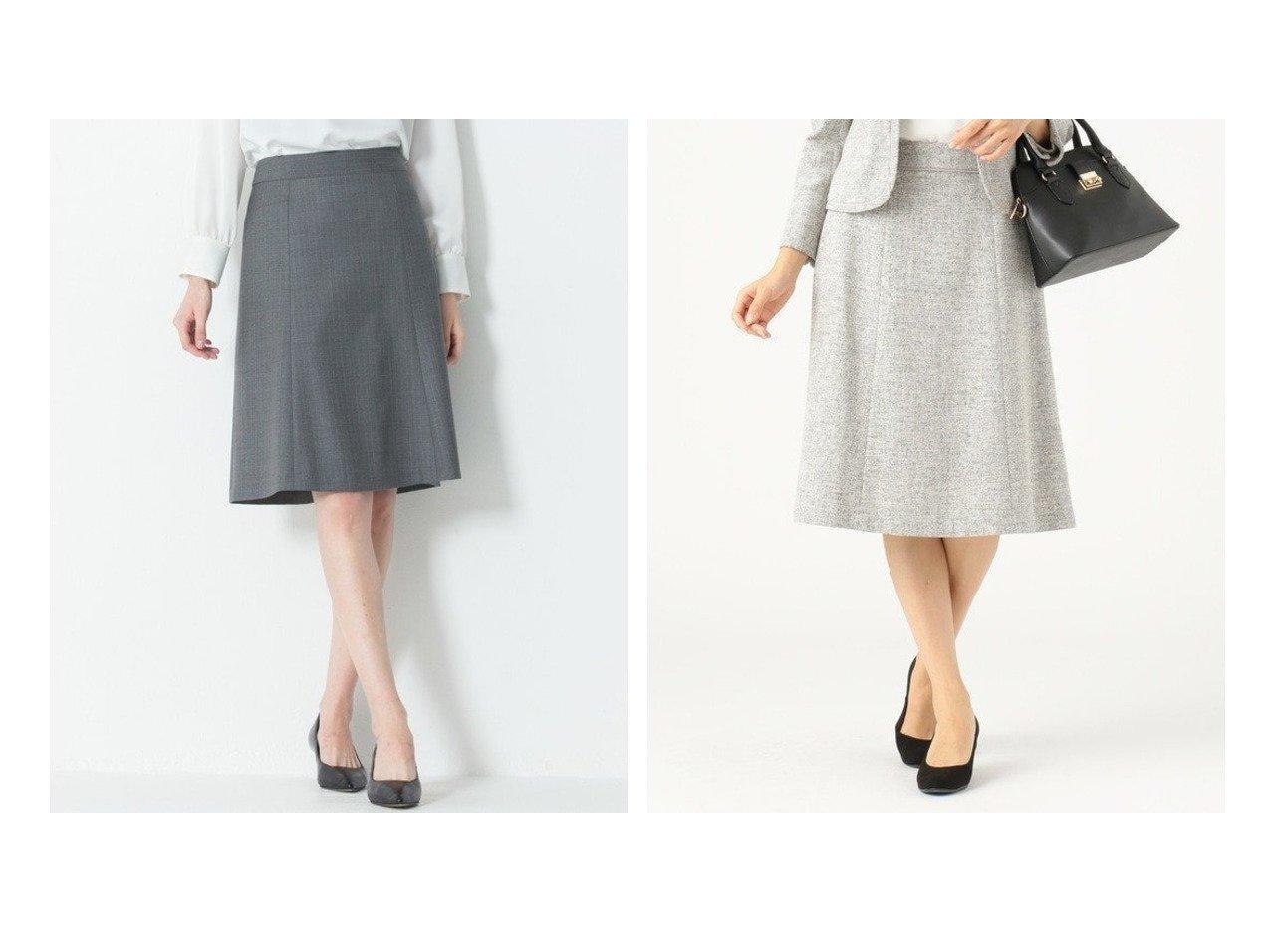 【any SiS/エニィ スィス】の【セットアップ対応】ミニライトボーダー スカート&【NIJYUSANKU/23区】の【セットアップ対応】ファインネスウール フレアスカート スカートのおすすめ!人気、レディースファッションの通販  おすすめファッション通販アイテム インテリア・キッズ・メンズ・レディースファッション・服の通販 founy(ファニー) ファッション Fashion レディース WOMEN セットアップ Setup スカート Skirt スカート Skirt Aライン/フレアスカート Flared A-Line Skirts ジャケット ストレッチ スーツ セットアップ テーラード 定番 フレア マーメイド シンプル ツイード フェミニン ベーシック ミックス ブラック系 Black グレー系 Gray |ID:crp329100000004060