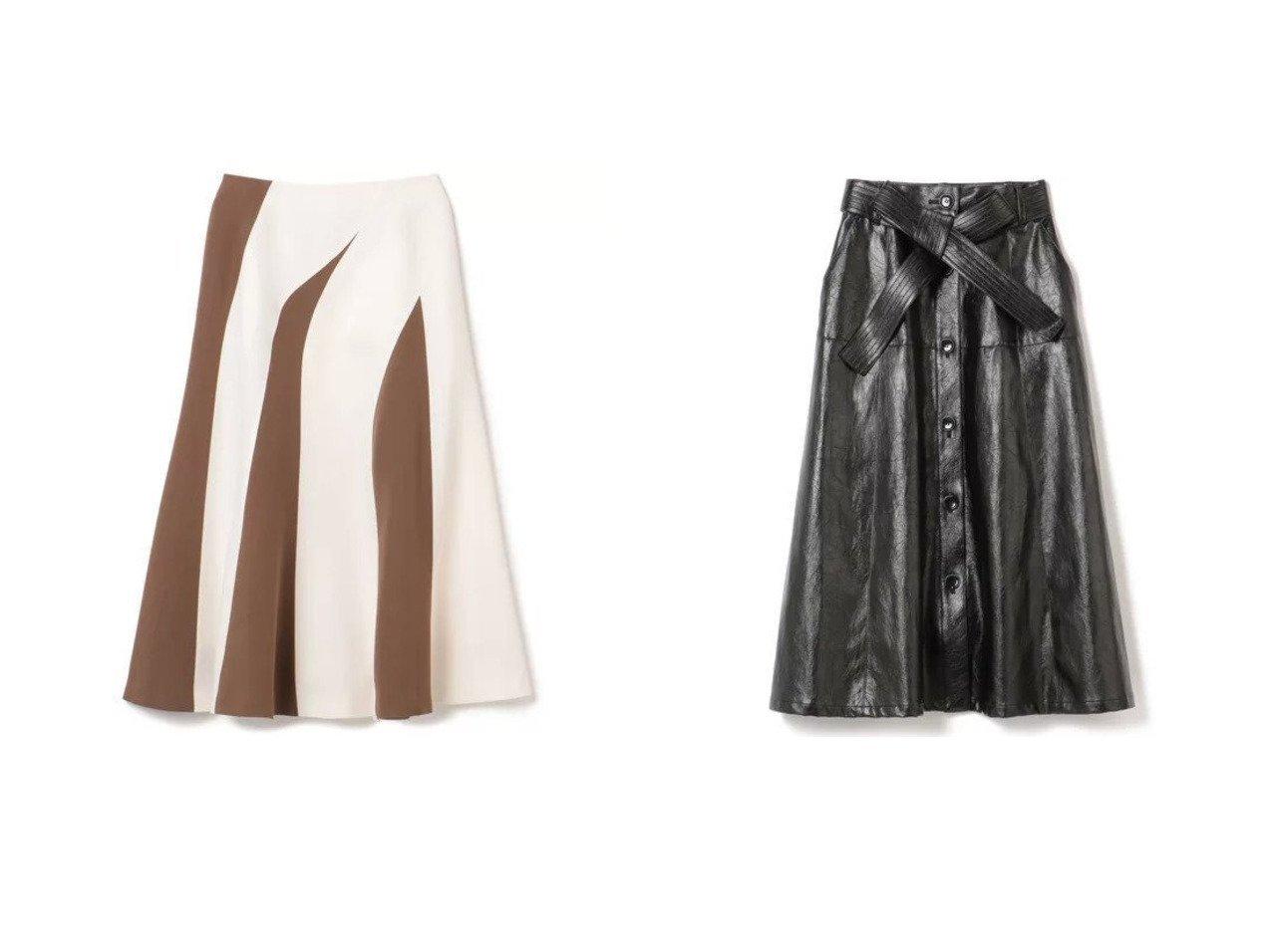 【AKIRANAKA/アキラナカ】のMoira two-tone panel skirt&Earlene faux leather skirt スカートのおすすめ!人気、レディースファッションの通販  おすすめで人気のファッション通販商品 インテリア・家具・キッズファッション・メンズファッション・レディースファッション・服の通販 founy(ファニー) https://founy.com/ ファッション Fashion レディース WOMEN スカート Skirt アシンメトリー フロント プリーツ マキシ ロング 冬 Winter スタイリッシュ リボン |ID:crp329100000004072
