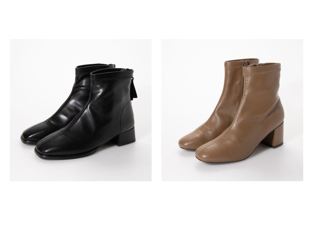 【ground green store/グラウンドグリーンストア】のスクエアトゥジップアップブーツ&【Agosto/アゴスト】のスクエアトゥストレッチ6cmチャンキーヒールブーツ シューズ・靴のおすすめ!人気、レディースファッションの通販  おすすめで人気のファッション通販商品 インテリア・家具・キッズファッション・メンズファッション・レディースファッション・服の通販 founy(ファニー) https://founy.com/ ファッション Fashion レディース WOMEN ジップアップ スタイリッシュ ソックス フィット 冬 Winter 楽ちん クッション スクエア ストレッチ 今季 |ID:crp329100000004112