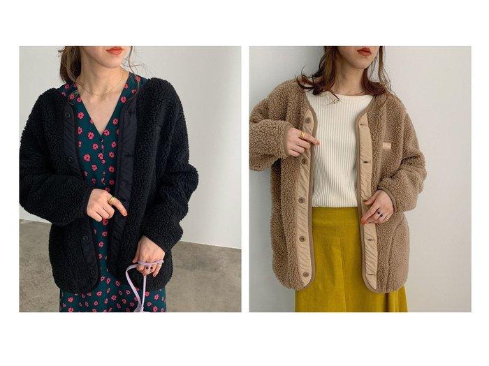 【ROPE' mademoiselle/ロペ マドモアゼル】の【WILD THINGS】別注ノーカラーボアコート アウターのおすすめ!人気、レディースファッションの通販  おすすめファッション通販アイテム レディースファッション・服の通販 founy(ファニー) ファッション Fashion レディース WOMEN アウター Coat Outerwear コート Coats インナー シンプル スウェット バランス パッチ ビッグ ポケット 別注 |ID:crp329100000004177