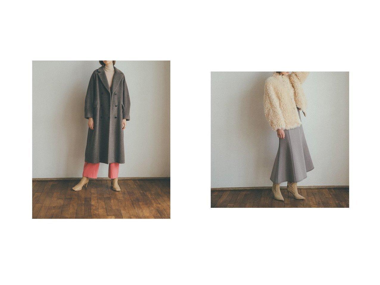【CLANE/クラネ】のRIVERSIBLE BUCK FUR BLOUSON&DOUBLE WOOL LONG COAT アウターのおすすめ!人気、レディースファッションの通販  おすすめで人気のファッション通販商品 インテリア・家具・キッズファッション・メンズファッション・レディースファッション・服の通販 founy(ファニー) https://founy.com/ ファッション Fashion レディース WOMEN アウター Coat Outerwear コート Coats チェスターコート Top Coat ブルゾン Blouson Jackets ダブル チェスターコート ショート ジャケット スタンド ブルゾン リバーシブル |ID:crp329100000004180