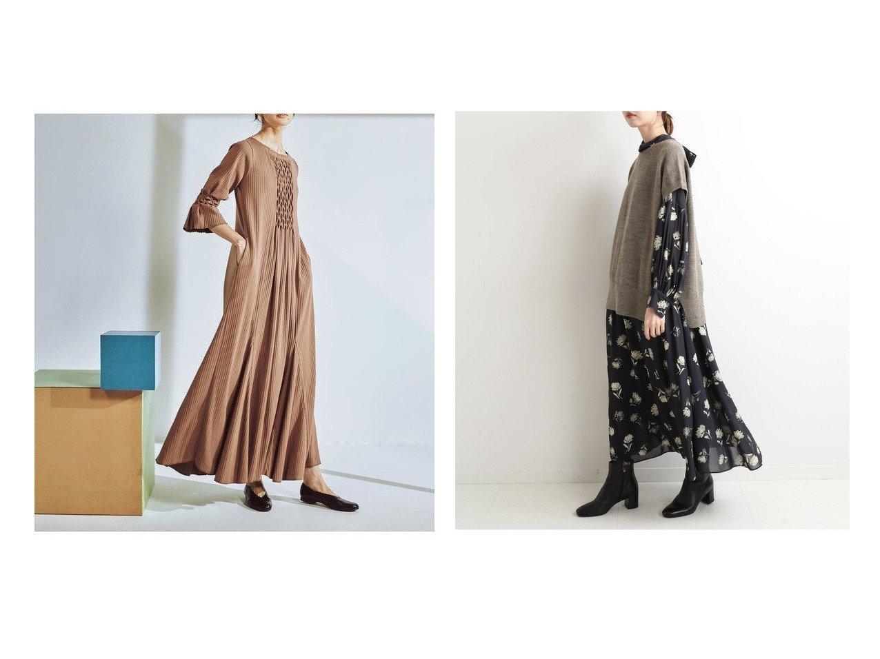 【IENA/イエナ】のカッセンデシンバックボウワンピース&【Ray BEAMS/レイ ビームス】のリブ スモッキング ワンピース ワンピース・ドレスのおすすめ!人気、レディースファッションの通販  おすすめで人気のファッション通販商品 インテリア・家具・キッズファッション・メンズファッション・レディースファッション・服の通販 founy(ファニー) https://founy.com/ ファッション Fashion レディース WOMEN ワンピース Dress アクセサリー スモッキング A/W 秋冬 Autumn &  Winter スウェット スタンド フラワー プリント マキシ 無地 |ID:crp329100000004277
