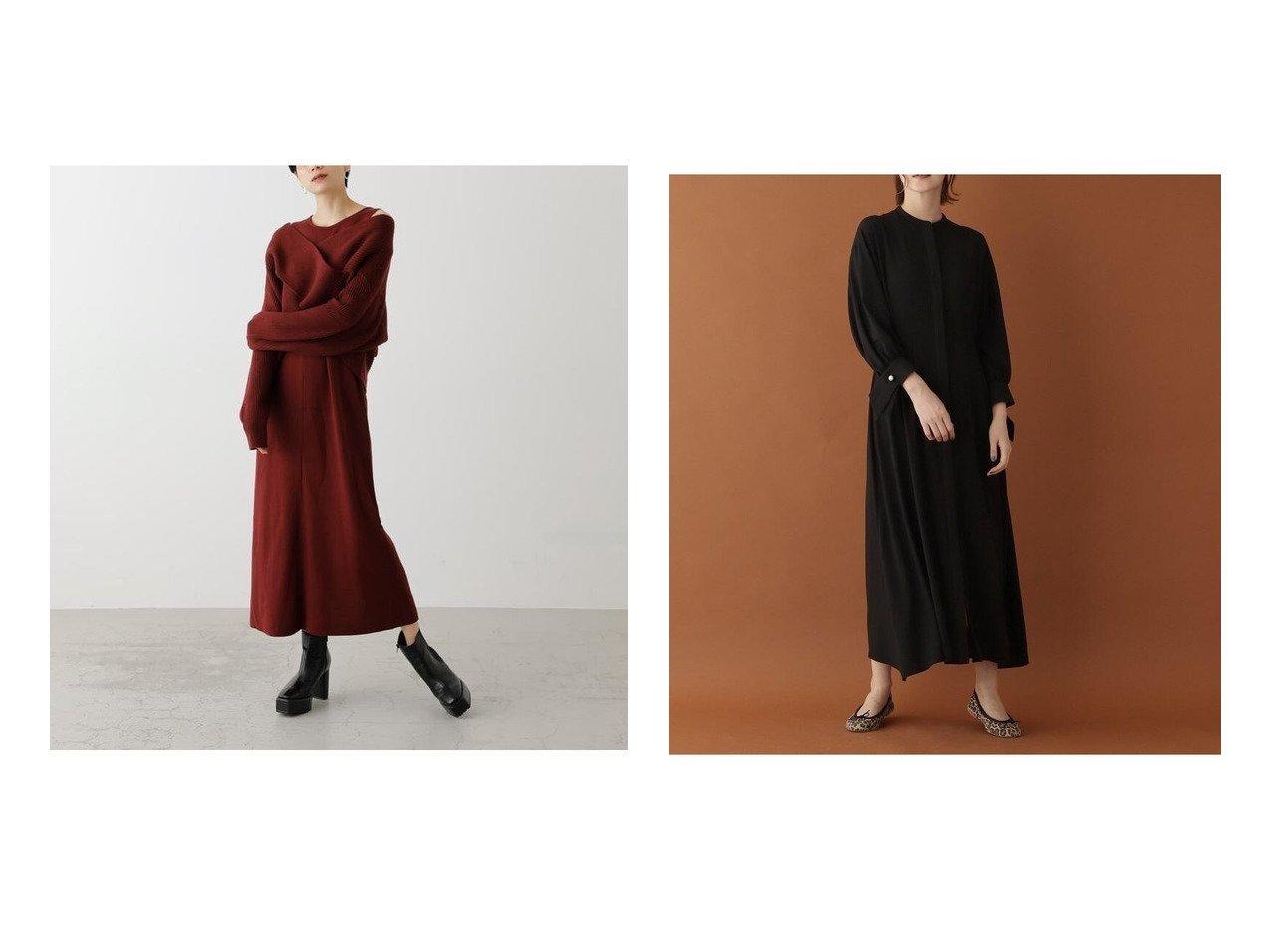 【DRESSTERIOR/ドレステリア】のセテラリージョーゼットAラインワンピース&【AZUL by moussy/アズール バイ マウジー】のTWIST LAYERED ONE-PIECE ワンピース・ドレスのおすすめ!人気、レディースファッションの通販  おすすめで人気のファッション通販商品 インテリア・家具・キッズファッション・メンズファッション・レディースファッション・服の通販 founy(ファニー) https://founy.com/ ファッション Fashion レディース WOMEN ワンピース Dress Aラインワンピース A-line Dress 冬 Winter アクリル クール スニーカー 畦 カフス パール |ID:crp329100000004290
