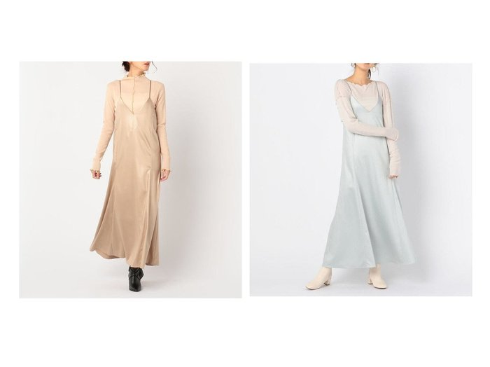 【NOLLEY'S sophi/ノーリーズソフィー】のレザーライクサテンキャミワンピース ワンピース・ドレスのおすすめ!人気、レディースファッションの通販  おすすめファッション通販アイテム インテリア・キッズ・メンズ・レディースファッション・服の通販 founy(ファニー) https://founy.com/ ファッション Fashion レディース WOMEN ワンピース Dress キャミワンピース No Sleeve Dresses キャミワンピース |ID:crp329100000004291