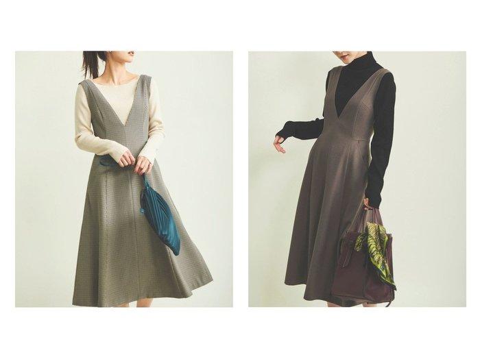 【The Virgnia/ザ ヴァージニア】のウールライクジャンスカワンピース ワンピース・ドレスのおすすめ!人気、レディースファッションの通販  おすすめファッション通販アイテム レディースファッション・服の通販 founy(ファニー) ファッション Fashion レディース WOMEN トップス Tops Tshirt キャミソール / ノースリーブ No Sleeves カッティング ノースリーブ フレア 人気 A/W 秋冬 Autumn & Winter  ID:crp329100000004311