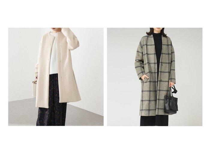 【MAYSON GREY/メイソングレイ】のスライバーチェックショールコート&【La TOTALITE/ラ トータリテ】のラムウールノーカラーコート アウターのおすすめ!人気、レディースファッションの通販 おすすめファッション通販アイテム レディースファッション・服の通販 founy(ファニー) ファッション Fashion レディース WOMEN アウター Coat Outerwear コート Coats A/W 秋冬 Autumn & Winter シンプル 定番 イタリア インナー カットソー スタイリッシュ ストレッチ チェック バランス |ID:crp329100000004710