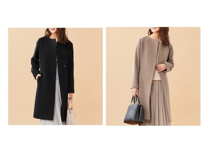 【any SiS/エニィ スィス】の【2WAY】スーペリアファインウールモッサ ノーカラーコート アウターのおすすめ!人気、レディースファッションの通販 おすすめファッション通販アイテム レディースファッション・服の通販 founy(ファニー) ファッション Fashion レディース WOMEN アウター Coat Outerwear コート Coats カシミヤ フロント リボン ロング |ID:crp329100000004722