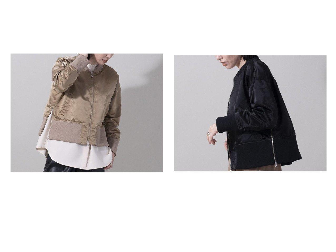 【EUCLAID/エウクレイド】のレイヤード風MA-1ブルゾン アウターのおすすめ!人気、レディースファッションの通販 おすすめファッション通販アイテム インテリア・キッズ・メンズ・レディースファッション・服の通販 founy(ファニー) ファッション Fashion レディース WOMEN アウター Coat Outerwear コート Coats ジャケット Jackets ブルゾン Blouson Jackets MA-1 MA-1 シンプル ジャケット バランス フォルム ブルゾン ボトム ミリタリー ベージュ系 Beige ブラック系 Black |ID:crp329100000004752