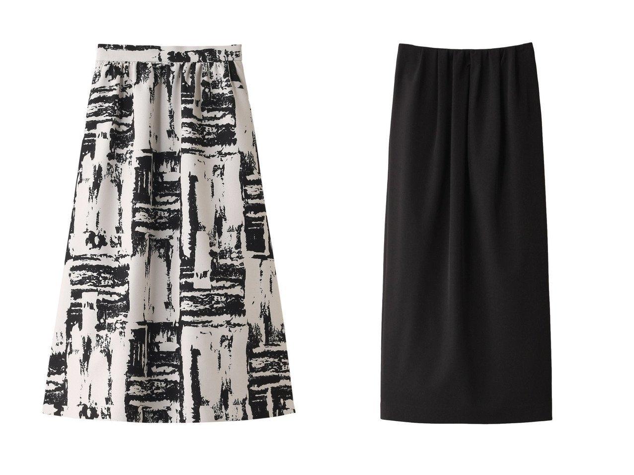 【allureville/アルアバイル】のアートプリントボンディングスカート&【CLANE/クラネ】のスカート スカートのおすすめ!人気、レディースファッションの通販 おすすめファッション通販アイテム インテリア・キッズ・メンズ・レディースファッション・服の通販 founy(ファニー) ファッション Fashion レディース WOMEN スカート Skirt ロングスカート Long Skirt パーティ プリント ボンディング モノトーン ロング ギャザー トレンド バランス 今季 ブラック系 Black ベージュ系 Beige |ID:crp329100000004922