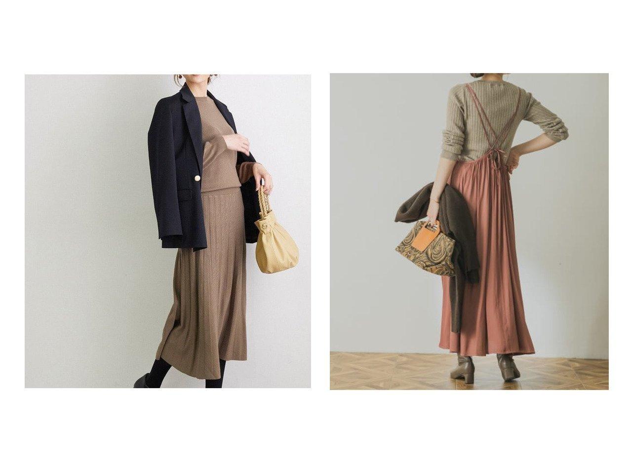 【Rope Picnic/ロペピクニック】のクルーネックプリーツニットワンピース&【URBAN RESEARCH/アーバンリサーチ】のサテンギャザーキャミソールワンピース ワンピース・ドレスのおすすめ!人気、レディースファッションの通販  おすすめで人気のファッション通販商品 インテリア・家具・キッズファッション・メンズファッション・レディースファッション・服の通販 founy(ファニー) https://founy.com/ ファッション Fashion レディース WOMEN ワンピース Dress ニットワンピース Knit Dresses ウォーム 秋 プリーツ ポケット 冬 Winter 春 カットソー キャミワンピース ギャザー スタンダード 人気 バランス ベーシック ミドル |ID:crp329100000005006
