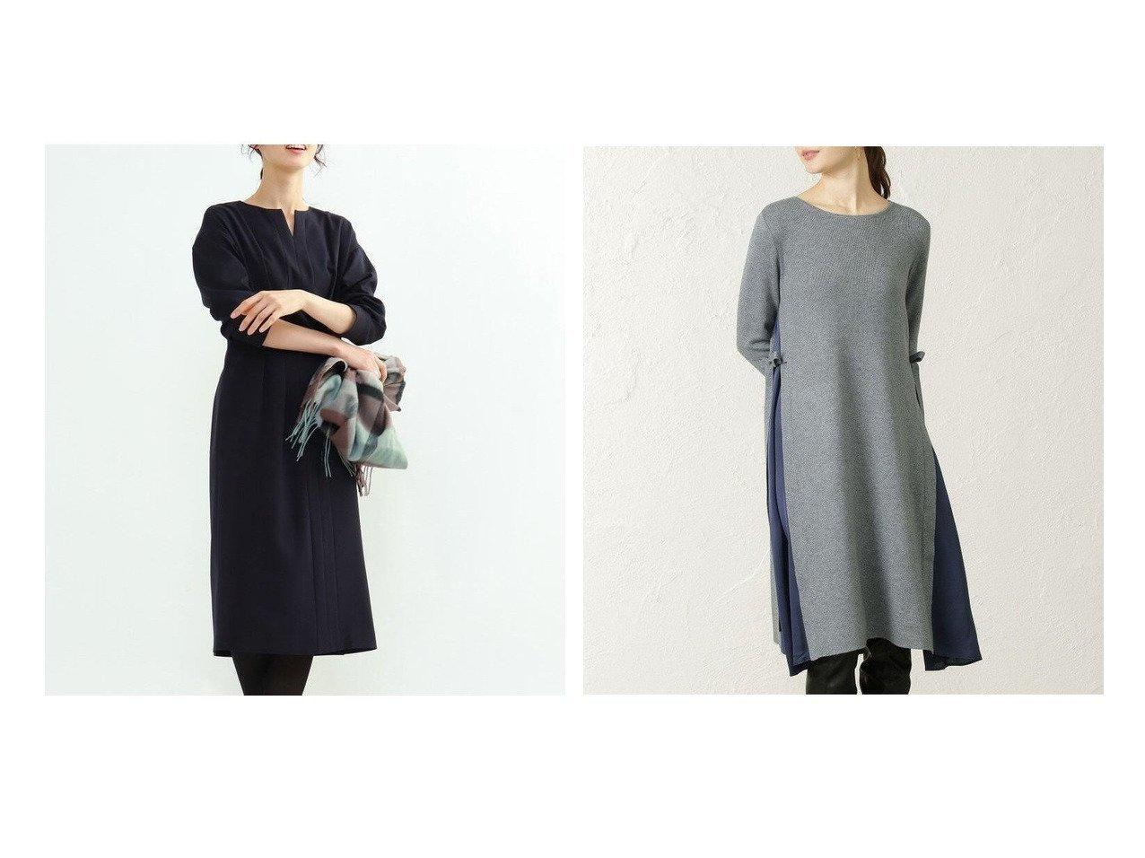 【EPOCA THE SHOP/エポカ ザ ショップ】の【EPOCA THE SHOP】サテンコンビニットドレス&【INDIVI/インディヴィ】のファインライクウールワンピース ワンピース・ドレスのおすすめ!人気、レディースファッションの通販  おすすめで人気のファッション通販商品 インテリア・家具・キッズファッション・メンズファッション・レディースファッション・服の通販 founy(ファニー) https://founy.com/ ファッション Fashion レディース WOMEN ワンピース Dress ドレス Party Dresses ショート ストレッチ ストレート センター トレンド バランス ポケット コンビ サテン スリット ドレス ビンテージ リボン |ID:crp329100000005010