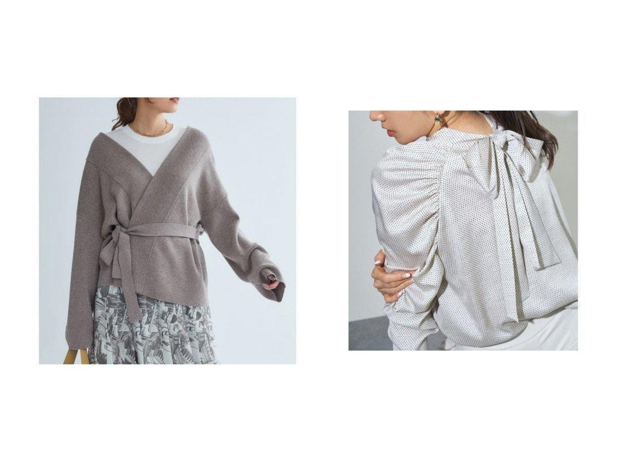 【Mila Owen/ミラオーウェン】の太衿ショートニットガウン&【CELFORD/セルフォード】のバックリボンドットブラウス トップス・カットソーのおすすめ!人気、レディースファッションの通販  おすすめで人気のファッション通販商品 インテリア・家具・キッズファッション・メンズファッション・レディースファッション・服の通販 founy(ファニー) https://founy.com/ ファッション Fashion レディース WOMEN トップス Tops Tshirt ニット Knit Tops カーディガン Cardigans シャツ/ブラウス Shirts Blouses なめらか カーディガン スマート ルーズ ギャザー サテン トレンド ドット 定番 手描き ボトム ランダム リボン 冬 Winter  ID:crp329100000005099