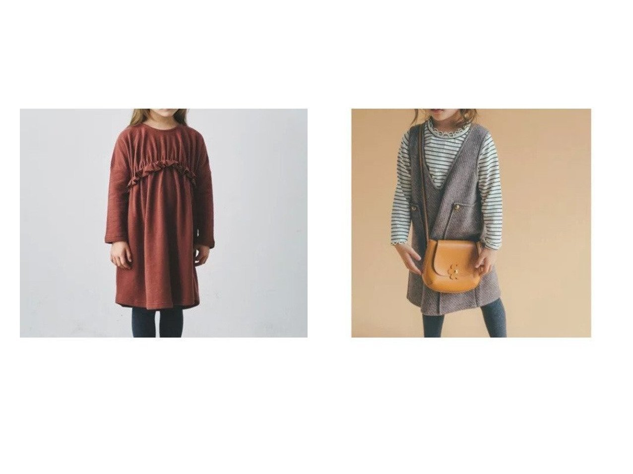 【green label relaxing / UNITED ARROWS / KIDS/グリーンレーベルリラクシング】の【キッズ】GLR ギャザーワンピース&【キッズ】GLR ボンディング ジャンパースカート 【KIDS】子供服のおすすめ!人気、キッズファッションの通販 おすすめで人気のファッション通販商品 インテリア・家具・キッズファッション・メンズファッション・レディースファッション・服の通販 founy(ファニー) https://founy.com/ ファッション Fashion キッズ KIDS ワンピース Dress Kids カットソー ギャザー タイツ フリル レギンス 無地 A/W 秋冬 Autumn &  Winter インナー クラシカル ボンディング リブニット 冬 Winter |ID:crp329100000005196
