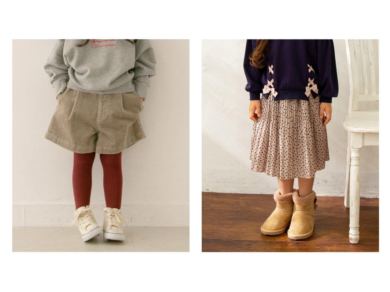 【URBAN RESEARCH DOORS / KIDS/アーバンリサーチ ドアーズ】のコーデュロイキュロット(KIDS)&【anyFAM / KIDS/エニファム】の【S-Mサイズ】デシン ねこドット スカート 【KIDS】子供服のおすすめ!人気、キッズファッションの通販 おすすめで人気のファッション通販商品 インテリア・家具・キッズファッション・メンズファッション・レディースファッション・服の通販 founy(ファニー) https://founy.com/ ファッション Fashion キッズ KIDS ボトムス Bottoms Kids ウォーム キュロット コーデュロイ シンプル ジーンズ スタンダード ストレッチ タイツ ベーシック ポケット 人気 今季 冬 Winter カットソー トレンド トレーナー ドット プリント モチーフ リボン  ID:crp329100000005209