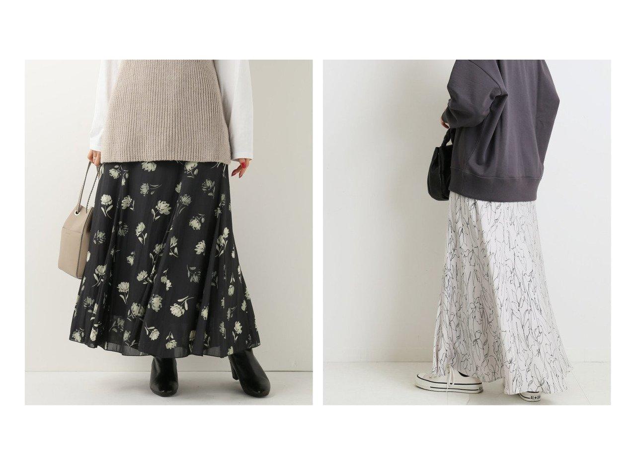 【IENA/イエナ】のランダムフラワー サテンフレアスカート&カッセンデシンパネルスカート スカートのおすすめ!人気、レディースファッションの通販 おすすめで人気のファッション通販商品 インテリア・家具・キッズファッション・メンズファッション・レディースファッション・服の通販 founy(ファニー) https://founy.com/ ファッション Fashion レディース WOMEN スカート Skirt Aライン/フレアスカート Flared A-Line Skirts A/W 秋冬 Autumn &  Winter フラワー フレア プリント マキシ 無地 モノトーン ランダム  ID:crp329100000005310