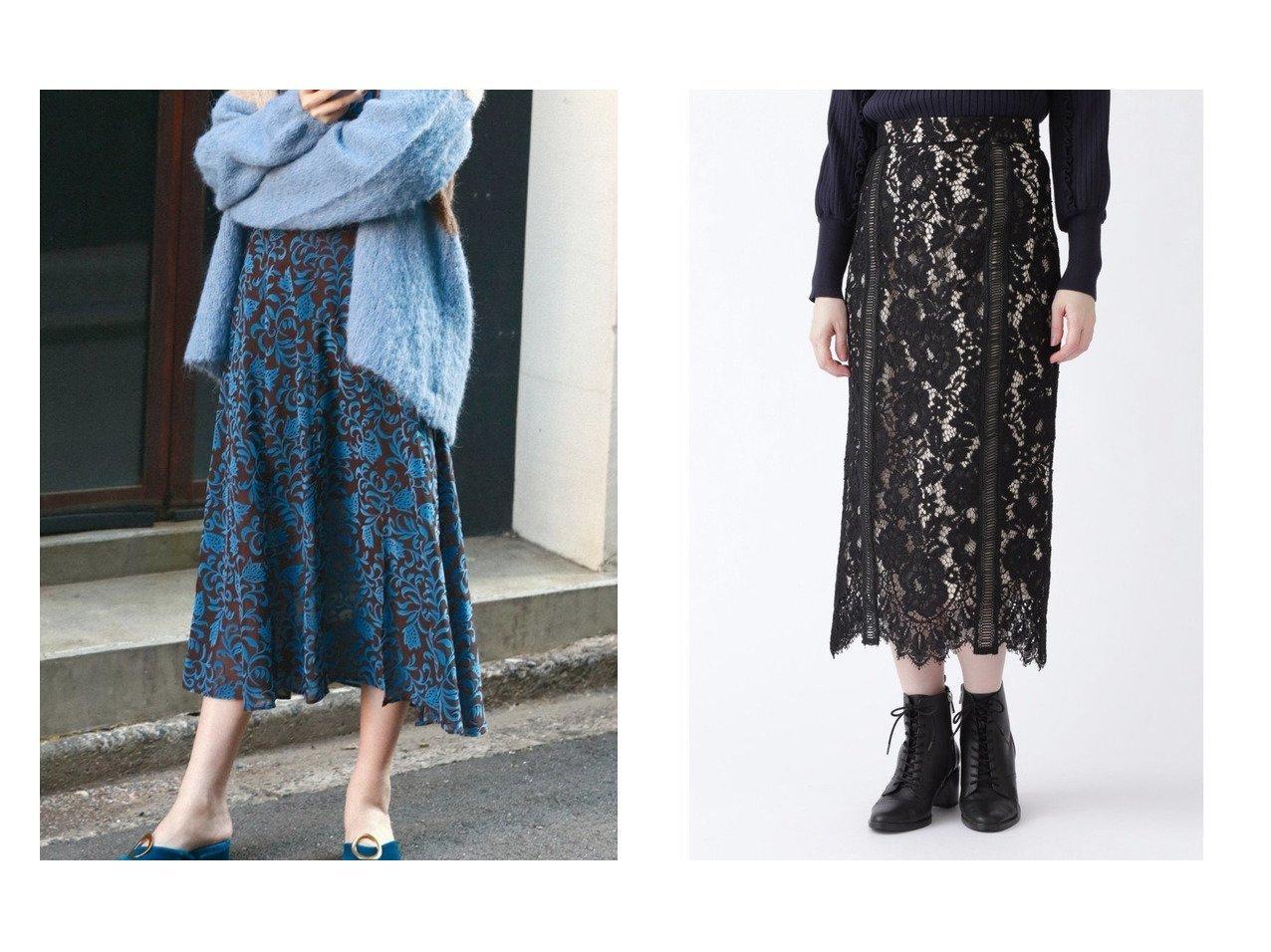 【Lily Brown/リリーブラウン】のフラワーフロッキースカート&【JILLSTUART/ジルスチュアート】のネロレーススカート スカートのおすすめ!人気、レディースファッションの通販 おすすめで人気のファッション通販商品 インテリア・家具・キッズファッション・メンズファッション・レディースファッション・服の通販 founy(ファニー) https://founy.com/ ファッション Fashion レディース WOMEN スカート Skirt ロングスカート Long Skirt オリエンタル スリット セットアップ フレア ベロア ロング ヴィンテージ インナー グログラン パイピング ミックス レース  ID:crp329100000005317