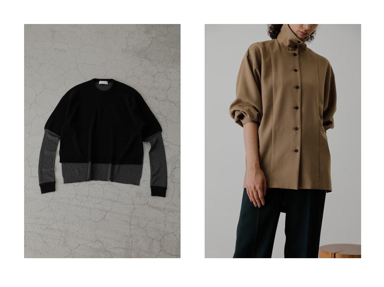 【RIM.ARK/リムアーク】のSleeve design knit topsニット&Stand collar over SH シャツ・ブラウス トップス・カットソーのおすすめ!人気、レディースファッションの通販 おすすめで人気のファッション通販商品 インテリア・家具・キッズファッション・メンズファッション・レディースファッション・服の通販 founy(ファニー) https://founy.com/ ファッション Fashion レディース WOMEN トップス Tops Tshirt ニット Knit Tops プルオーバー Pullover シャツ/ブラウス Shirts Blouses シンプル カフス スタイリッシュ スリーブ マニッシュ ロング |ID:crp329100000005428