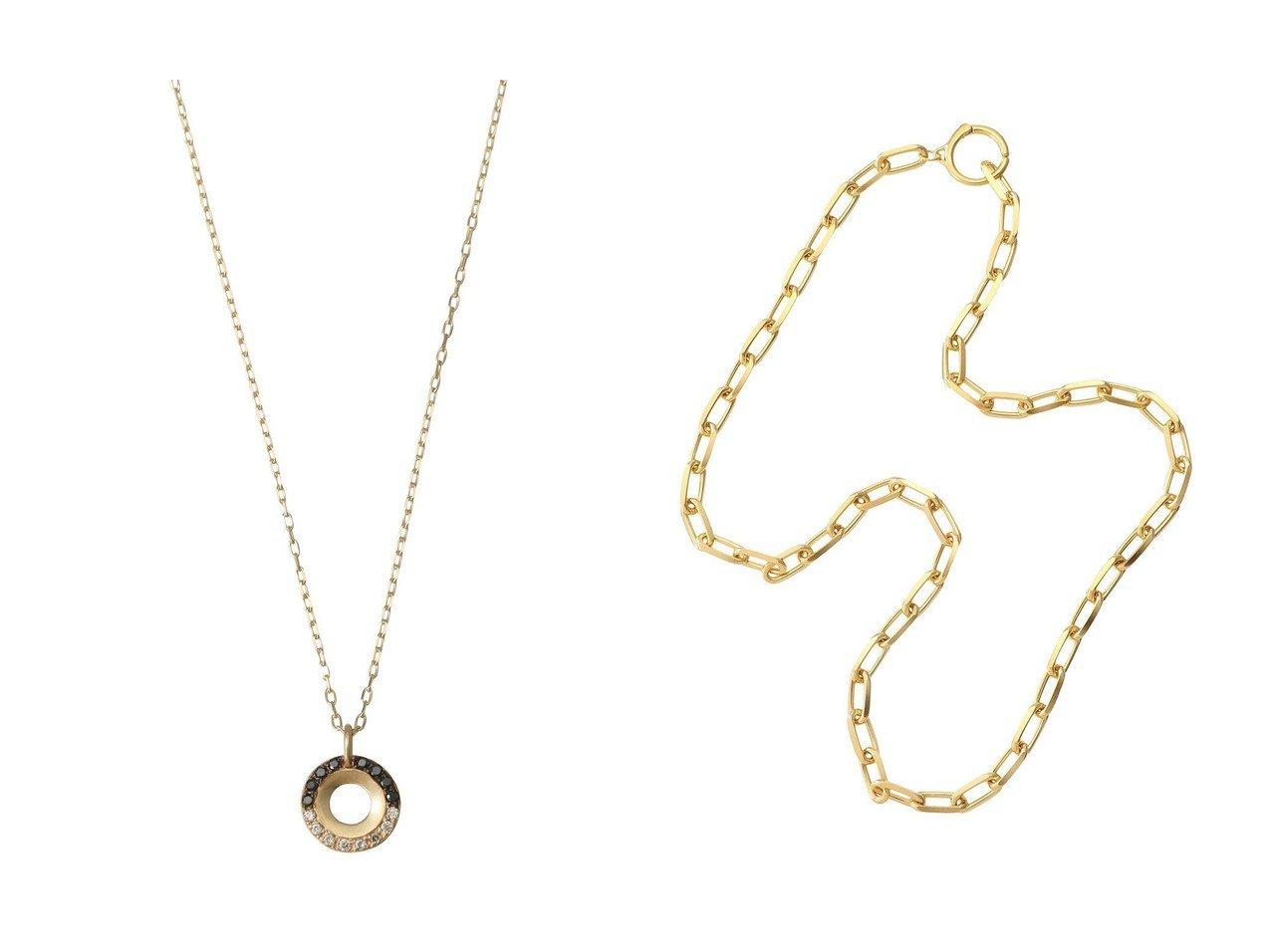 【KNOWHOW/ノウハウ】のCable Chain L フープネックレス&【Hirotaka/ヒロタカ】のWheel of Fortune ブラックダイヤモンドネックレス アクセサリー・ジュエリーおすすめ!人気、レディースファッションの通販  おすすめで人気のファッション通販商品 インテリア・家具・キッズファッション・メンズファッション・レディースファッション・服の通販 founy(ファニー) https://founy.com/ ファッション Fashion レディース WOMEN ジュエリー Jewelry ネックレス Necklaces シンプル セットアップ ダイヤモンド ネックレス ショート チェーン フープ |ID:crp329100000005601