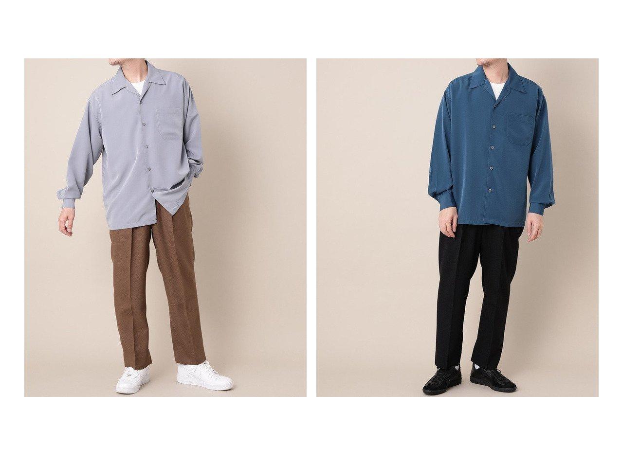 【Adam et Rope / MEN/アダムエロペ 】の【CalTOP】ビッグシルエット オープンカラーシャツ 【MEN】男性のおすすめ!人気トレンド・メンズファッションの通販  おすすめで人気のファッション通販商品 インテリア・家具・キッズファッション・メンズファッション・レディースファッション・服の通販 founy(ファニー) https://founy.com/ ファッション Fashion メンズ MEN トップス Tops Tshirt Men シャツ Shirts エレガント ショルダー ターコイズ トレンド ドロップ ビッグ ベーシック |ID:crp329100000006543