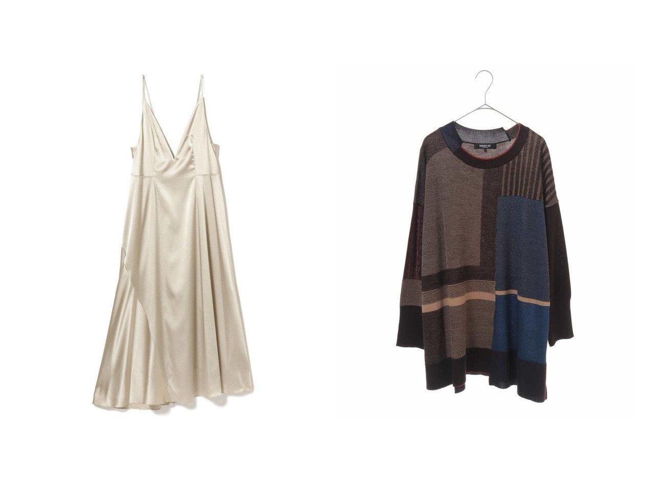 【Demi-Luxe BEAMS/デミルクス ビームス】のサテン ストレッチ ドレス&【HIROKO BIS GRANDE/ヒロコビス ブランデ】のブロッキングニットプルオーバー おすすめ!人気トレンド・レディースファッションの通販  おすすめで人気のファッション通販商品 インテリア・家具・キッズファッション・メンズファッション・レディースファッション・服の通販 founy(ファニー) https://founy.com/ ファッション Fashion レディース WOMEN ワンピース Dress ドレス Party Dresses シャツワンピース Shirt Dresses トップス Tops Tshirt ニット Knit Tops プルオーバー Pullover エレガント キャミソール コレクション サテン ストレッチ トレンド ドレス ドレープ バランス パーティ フォルム ラグジュアリー リボン カーディガン ロング  ID:crp329100000006750