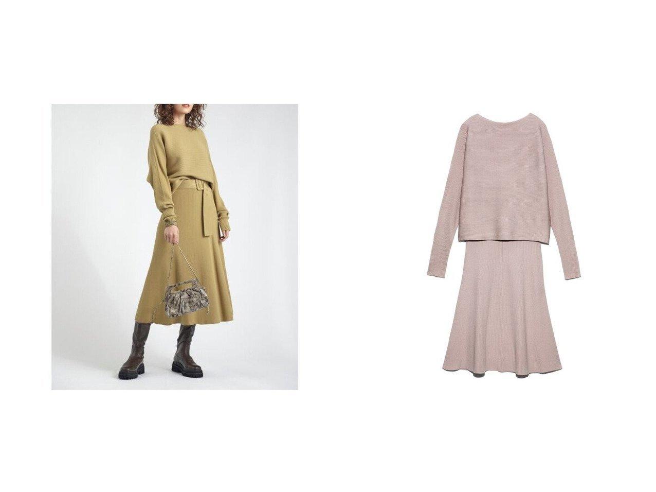 【Mila Owen/ミラオーウェン】のベルト付横編みニットセットアップ おすすめ!人気トレンド・レディースファッションの通販  おすすめで人気のファッション通販商品 インテリア・家具・キッズファッション・メンズファッション・レディースファッション・服の通販 founy(ファニー) https://founy.com/ ファッション Fashion レディース WOMEN トップス Tops Tshirt ニット Knit Tops ベルト Belts スマート セットアップ セパレート トレンド フレア マーメイド  ID:crp329100000006755
