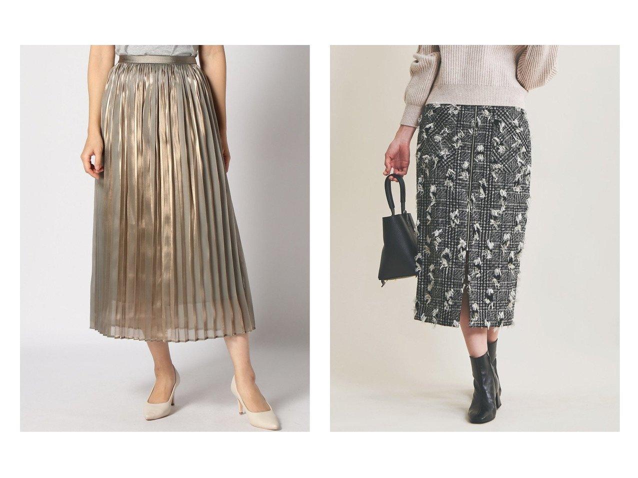 【The Virgnia/ザ ヴァージニア】のカットラメツイードスカート&【NOBLE / Spick & Span/ノーブル / スピック&スパン】のシャイニーシャンブレープリーツSK スカートのおすすめ!人気トレンド・レディースファッションの通販 おすすめで人気のファッション通販商品 インテリア・家具・キッズファッション・メンズファッション・レディースファッション・服の通販 founy(ファニー) https://founy.com/ ファッション Fashion レディース WOMEN スカート Skirt プリーツスカート Pleated Skirts A/W 秋冬 Autumn &  Winter ギャザー サテン シャイニー シャンブレー ブライト プリーツ 冬 Winter カットジャガード スリット タイトスカート チェック |ID:crp329100000007264