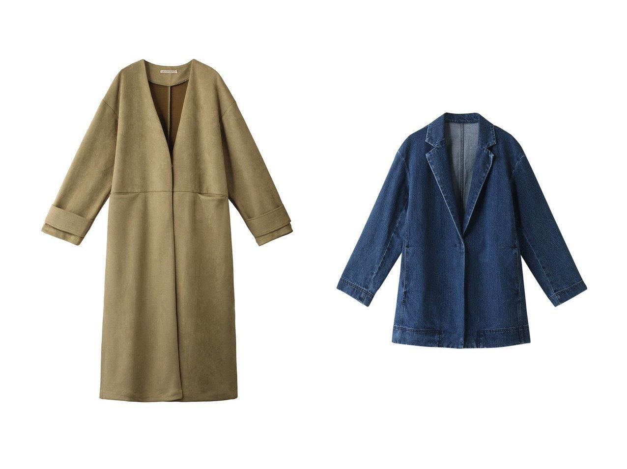 【ROSE BUD/ローズバッド】の【P.P】ノーカラーロングコート&【GALLARDAGALANTE/ガリャルダガランテ】のデニムジャケット アウターのおすすめ!人気トレンド・レディースファッションの通販 おすすめで人気のファッション通販商品 インテリア・家具・キッズファッション・メンズファッション・レディースファッション・服の通販 founy(ファニー) https://founy.com/ ファッション Fashion レディースファッション WOMEN アウター Coat Outerwear ジャケット Jackets デニムジャケット Denim Jackets コート Coats ジャケット セットアップ デニム ロング  ID:crp329100000007564