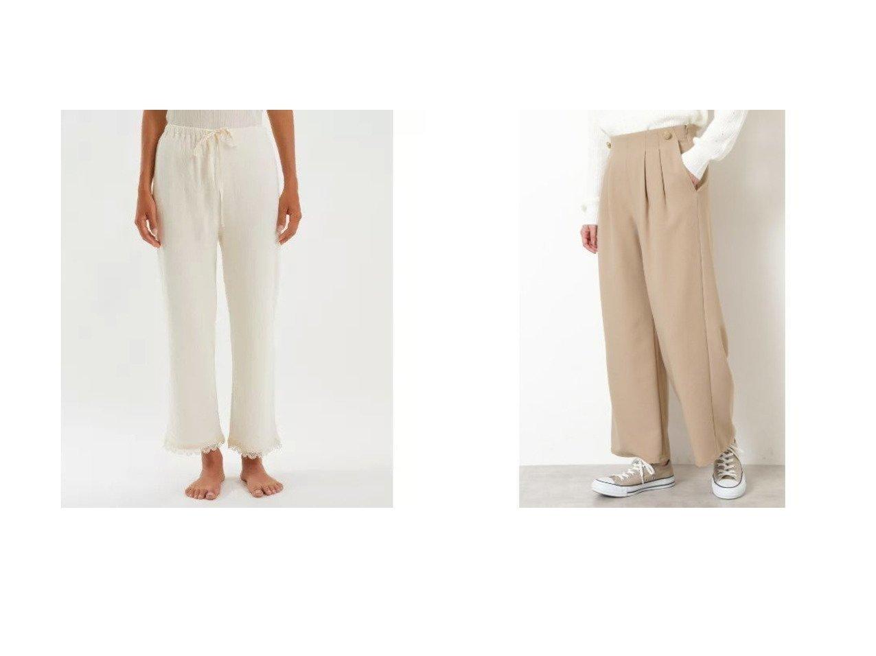 【NATURAL BEAUTY BASIC/ナチュラル ビューティー ベーシック】の[洗える]ジョーゼットワイドパンツ&【nanadecor/ナナデコール】のスズランレースパンツ パンツのおすすめ!人気トレンド・レディースファッションの通販 おすすめで人気のファッション通販商品 インテリア・家具・キッズファッション・メンズファッション・レディースファッション・服の通販 founy(ファニー) https://founy.com/ ファッション Fashion レディースファッション WOMEN パンツ Pants アンダー カットソー ドレス パジャマ リラックス レース ロング ジョーゼット メタル ワイド  ID:crp329100000007731