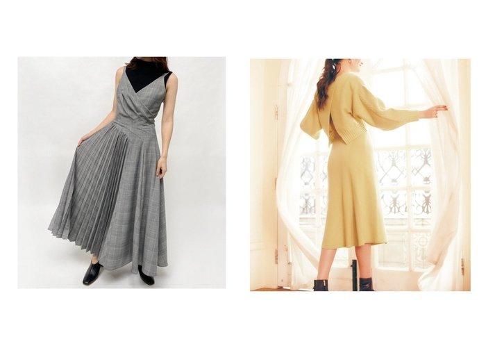 【FRAY I.D/フレイ アイディー】のコンビOP&【Noela/ノエラ】のセットアップ風ニットワンピース ワンピース・ドレスのおすすめ!人気トレンド・レディースファッションの通販  おすすめファッション通販アイテム レディースファッション・服の通販 founy(ファニー) ファッション Fashion レディースファッション WOMEN ワンピース Dress ニットワンピース Knit Dresses インナー カッティング キャミワンピース コンビ チェック ドレス ドレープ スリーブ セットアップ フレンチ 台形 |ID:crp329100000007801