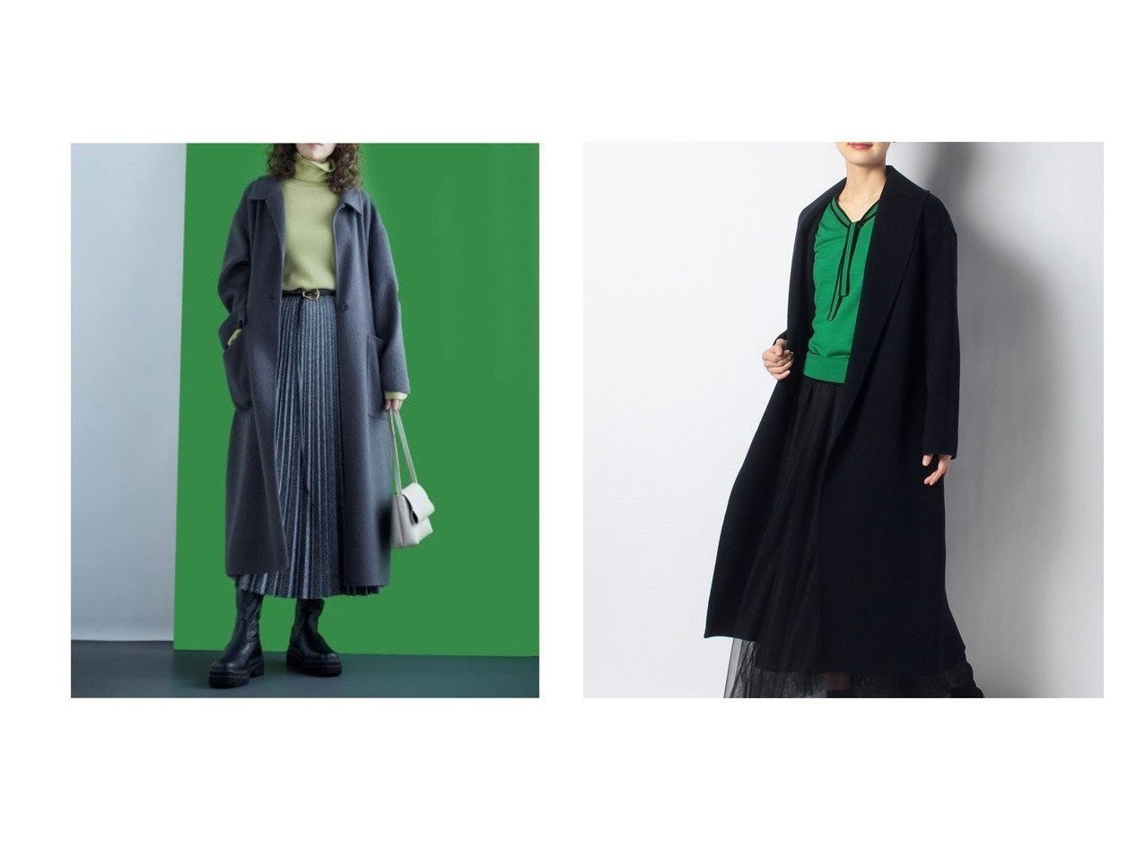 【Mila Owen/ミラオーウェン】の接結シャギーリーンシルエットコート&【allureville/アルアバイル】のショールカラーリバーコート おすすめ!人気、トレンド・レディースファッションの通販 おすすめで人気の流行・トレンド、ファッションの通販商品 メンズファッション・キッズファッション・インテリア・家具・レディースファッション・服の通販 founy(ファニー) https://founy.com/ ファッション Fashion レディースファッション WOMEN アウター Coat Outerwear コート Coats チェスターコート Top Coat スタイリッシュ スマート チェスターコート トレンド ポケット 冬 Winter スリット 無地 |ID:crp329100000008851