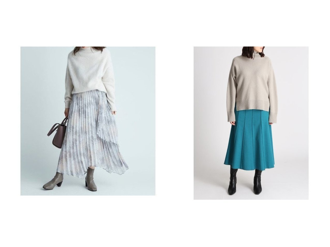 【Mila Owen/ミラオーウェン】のウール混パネルデザインミディスカート&【FRAY I.D/フレイ アイディー】のフラワープリントアシメプリーツスカート スカートのおすすめ!人気トレンド・レディースファッションの通販 おすすめで人気の流行・トレンド、ファッションの通販商品 メンズファッション・キッズファッション・インテリア・家具・レディースファッション・服の通販 founy(ファニー) https://founy.com/ ファッション Fashion レディースファッション WOMEN スカート Skirt プリーツスカート Pleated Skirts イエロー ギャザー シフォン ジョーゼット スマート バランス プリント プリーツ ラップ パープル 冬 Winter |ID:crp329100000008971