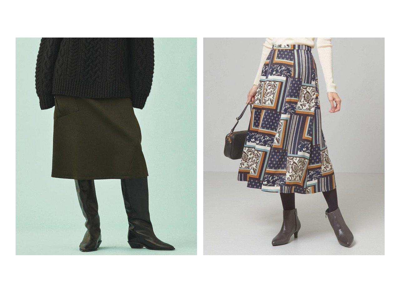 【GALERIE VIE / TOMORROWLAND/ギャルリー ヴィー】のウールドスキン 1ポケットAラインスカート&【THE STATION STORE/ザ ステーション ストア ユナイテッドアローズ】のスカーフプリントFLR スカート -手洗い可能- スカートのおすすめ!人気トレンド・レディースファッションの通販 おすすめで人気の流行・トレンド、ファッションの通販商品 メンズファッション・キッズファッション・インテリア・家具・レディースファッション・服の通販 founy(ファニー) https://founy.com/ ファッション Fashion レディースファッション WOMEN スカート Skirt Aライン/フレアスカート Flared A-Line Skirts A/W 秋冬 Autumn &  Winter アシンメトリー バランス ポケット ウォッシャブル エレガント ギャザー ショート スカーフ フレア プリント ミモレ ランダム ロング |ID:crp329100000008978