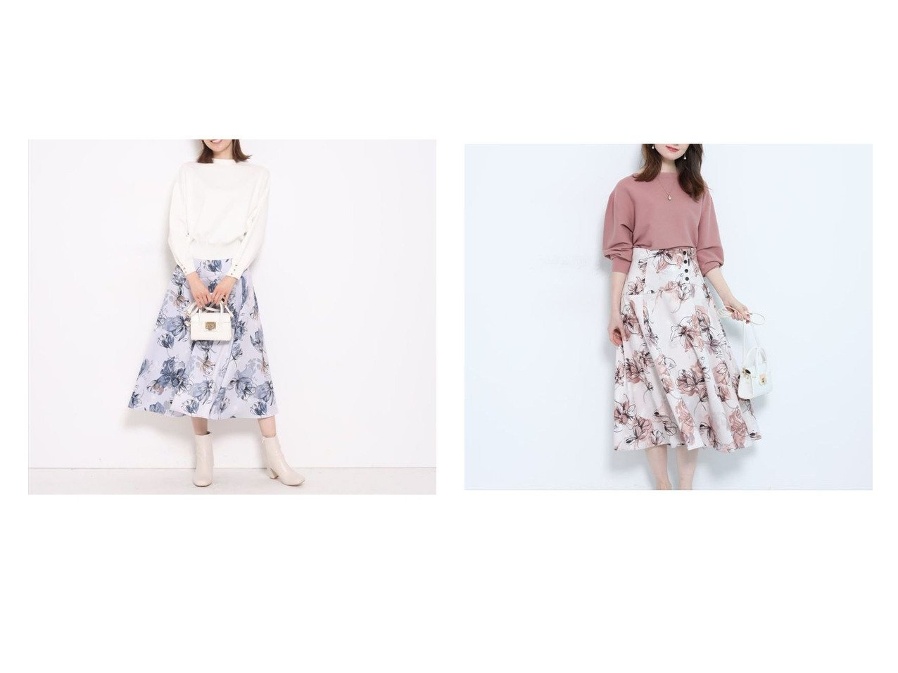 【Apuweiser-riche/アプワイザーリッシェ】のプリントフラワースカート スカートのおすすめ!人気トレンド・レディースファッションの通販 おすすめで人気の流行・トレンド、ファッションの通販商品 メンズファッション・キッズファッション・インテリア・家具・レディースファッション・服の通販 founy(ファニー) https://founy.com/ ファッション Fashion レディースファッション WOMEN スカート Skirt エレガント フラワー フレア フロント プリント ミモレ  ID:crp329100000008990