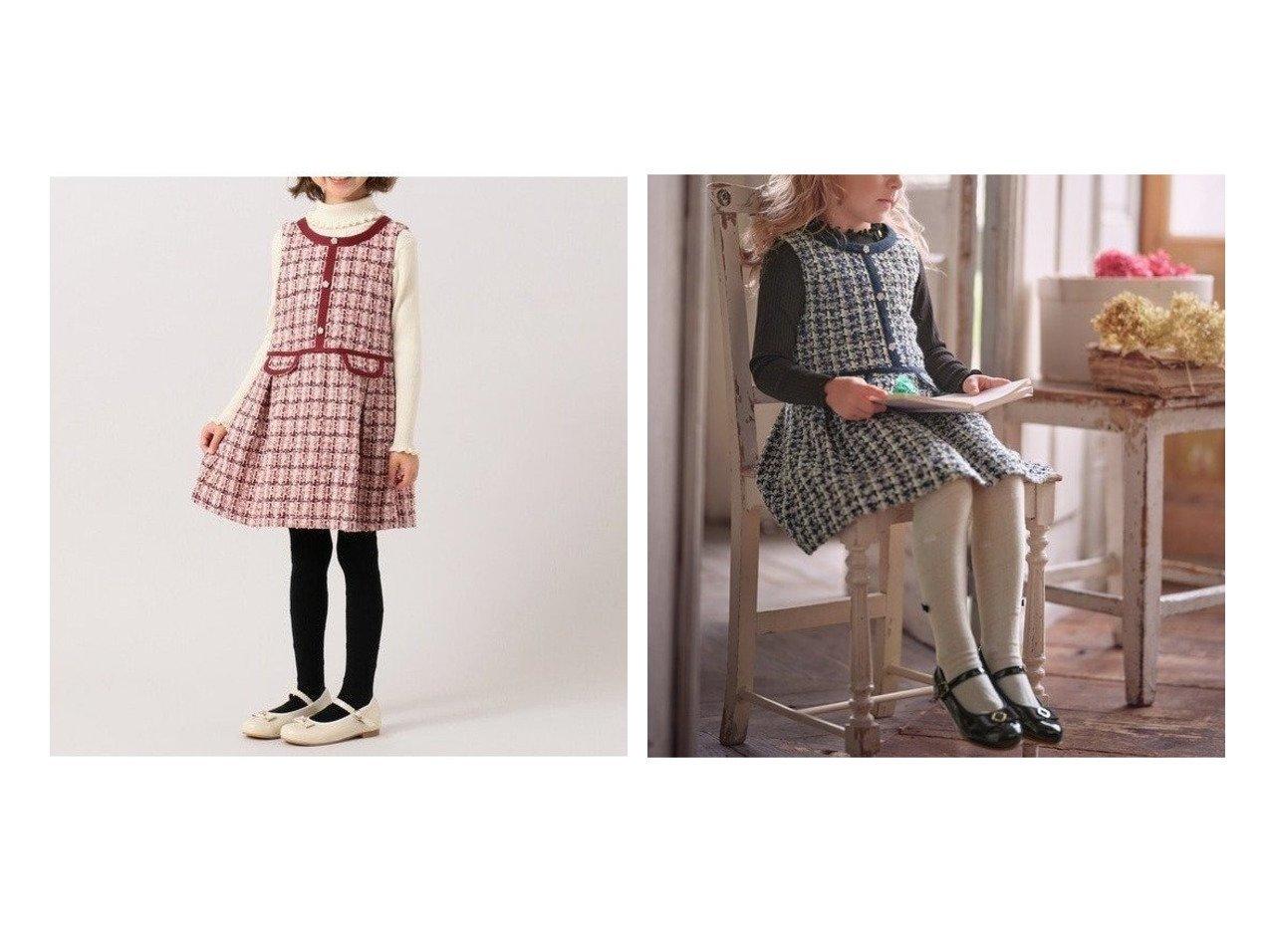【TOCCA BAMBINI / KIDS/トッカ バンビーニ】の【WEB限定/110-140cm】WINDOW ワンピース 【KIDS】子供服のおすすめ!人気トレンド・キッズファッションの通販 おすすめで人気の流行・トレンド、ファッションの通販商品 メンズファッション・キッズファッション・インテリア・家具・レディースファッション・服の通販 founy(ファニー) https://founy.com/ ファッション Fashion キッズファッション KIDS ワンピース Dress Kids クラシック タートル ツイード トリミング フラワー ミックス ローズ |ID:crp329100000009011