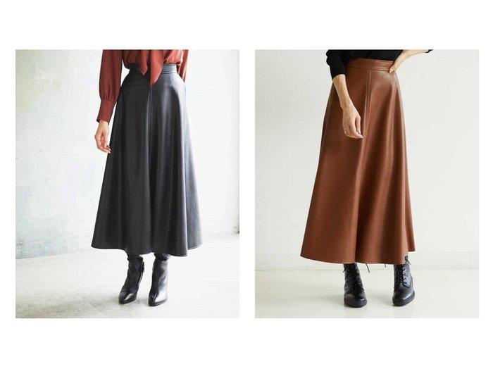 【MICHEL KLEIN/ミッシェルクラン】のエコレザーフレアスカート スカートのおすすめ!人気、トレンド・レディースファッションの通販  おすすめファッション通販アイテム レディースファッション・服の通販 founy(ファニー) ファッション Fashion レディースファッション WOMEN スカート Skirt Aライン/フレアスカート Flared A-Line Skirts コーティング ジャージ ストレッチ フレア フロント ミックス ライダースジャケット リアル |ID:crp329100000009062