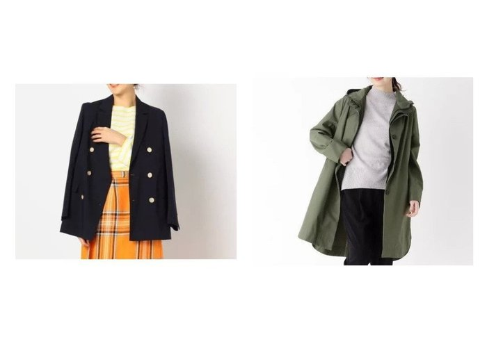 【modify/モディファイ】のクリアツイルインナーアレンジコート&【NOLLEY'S/ノーリーズ】の梳毛調ダブルジャケット アウターのおすすめ!人気、トレンド・レディースファッションの通販  おすすめファッション通販アイテム レディースファッション・服の通販 founy(ファニー) ファッション Fashion レディースファッション WOMEN アウター Coat Outerwear ジャケット Jackets コート Coats ジャケット ストライプ ダブル テーラード 春 秋 インナー シェイプ スカラップ スマート スリット フロント ベスト  ID:crp329100000009146