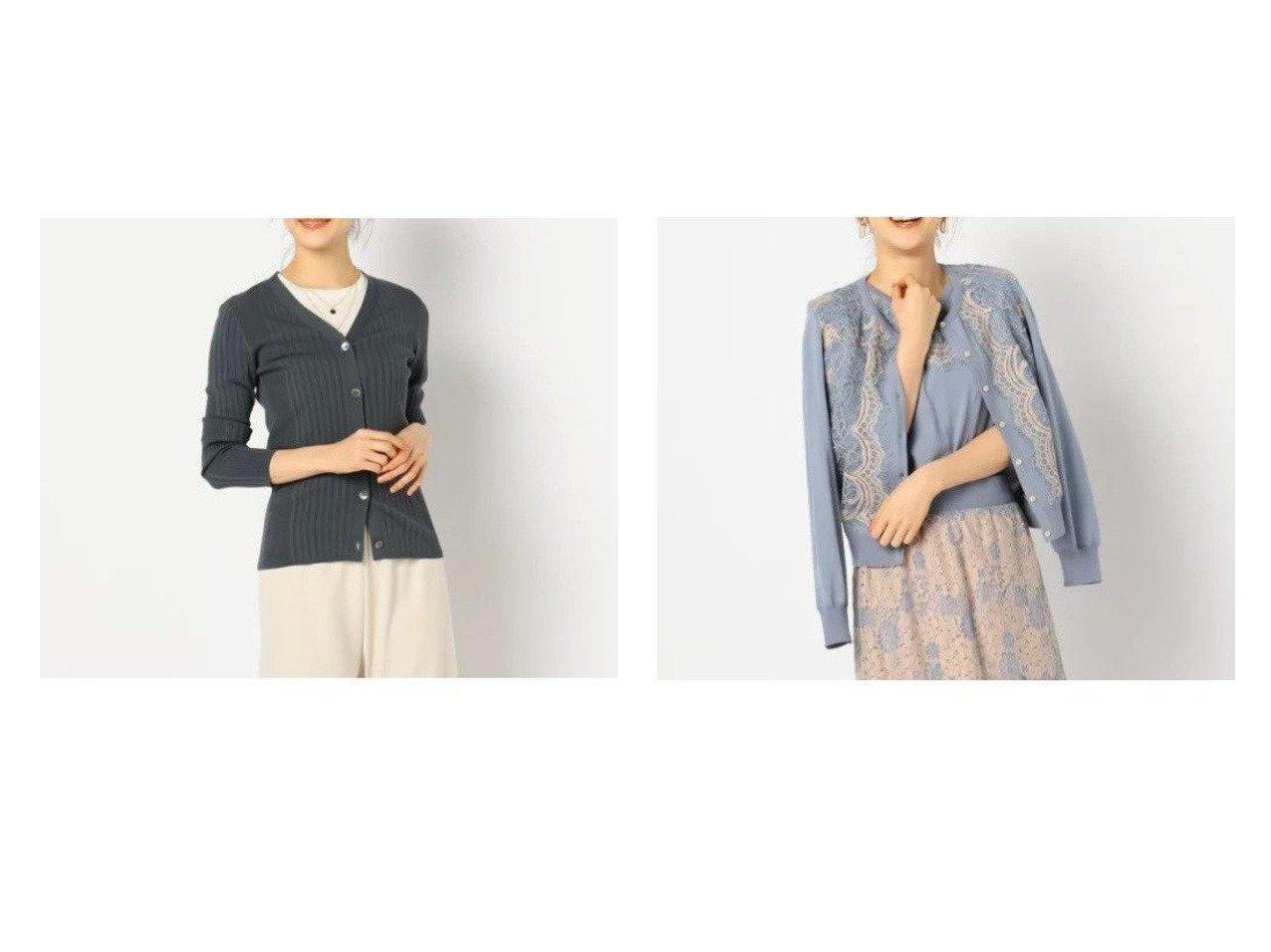 【NOLLEY'S sophi/ノーリーズソフィー】のリブD&レース付クルーネックカーディガン トップス・カットソーのおすすめ!人気、トレンド・レディースファッションの通販 おすすめで人気の流行・トレンド、ファッションの通販商品 メンズファッション・キッズファッション・インテリア・家具・レディースファッション・服の通販 founy(ファニー) https://founy.com/ ファッション Fashion レディースファッション WOMEN トップス Tops Tshirt カーディガン Cardigans Vネック V-Neck アンサンブル インナー カーディガン ジャケット ロング 人気 エレガント スカラップ セットアップ レース  ID:crp329100000009285