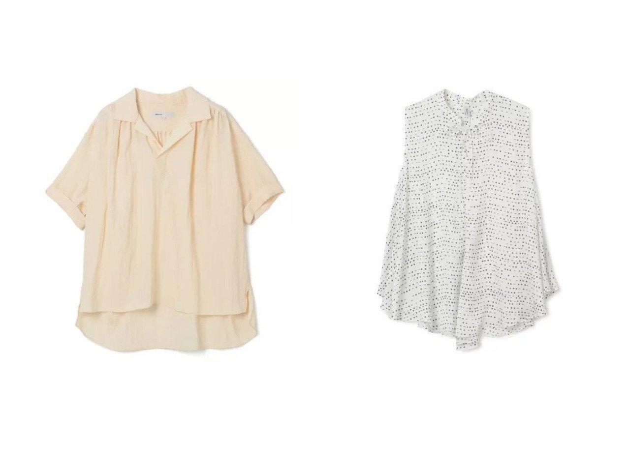 【08sircus/ゼロエイトサーカス】のViscose washer gather shirt&Satin morse code print peplum top トップス・カットソーのおすすめ!人気、トレンド・レディースファッションの通販 おすすめで人気の流行・トレンド、ファッションの通販商品 メンズファッション・キッズファッション・インテリア・家具・レディースファッション・服の通販 founy(ファニー) https://founy.com/ ファッション Fashion レディースファッション WOMEN トップス Tops Tshirt シャツ/ブラウス Shirts Blouses キャミソール / ノースリーブ No Sleeves ギャザー 半袖 春 サテン スリット ドレープ ノースリーブ フェミニン プリント ヘムライン ペプラム  ID:crp329100000009294