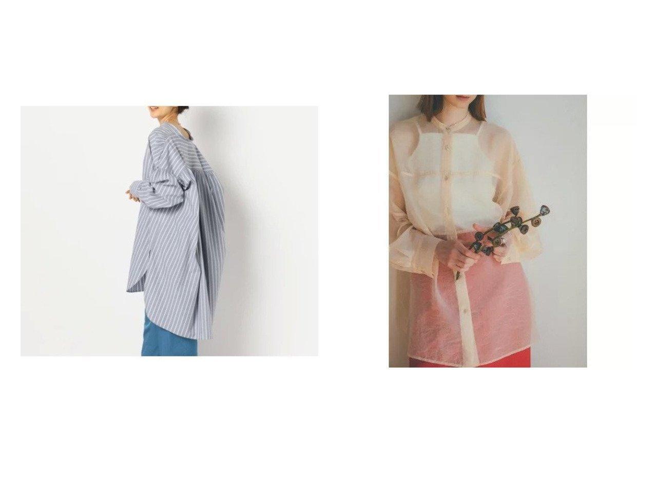 【NOLLEY'S/ノーリーズ】のタイプライターギャザーロングシャツ&【CLANE/クラネ】のSWITCH SHEER SHIRT トップス・カットソーのおすすめ!人気、トレンド・レディースファッションの通販 おすすめで人気の流行・トレンド、ファッションの通販商品 メンズファッション・キッズファッション・インテリア・家具・レディースファッション・服の通販 founy(ファニー) https://founy.com/ ファッション Fashion レディースファッション WOMEN トップス Tops Tshirt シャツ/ブラウス Shirts Blouses ギャザー ショルダー ストライプ タイプライター ドロップ バランス インナー キャミソール スリット 春 長袖  ID:crp329100000009297