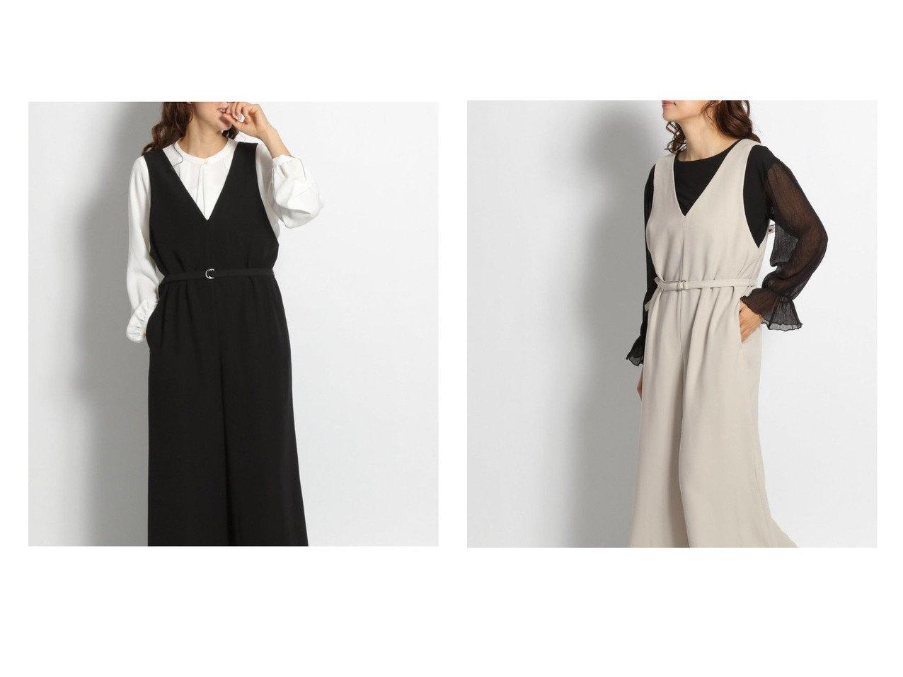 【niko and…/ニコアンド】の[BLACK BASIC STYLE]V開きベルト付きサロペット ワンピース・ドレスのおすすめ!人気、トレンド・レディースファッションの通販 おすすめで人気の流行・トレンド、ファッションの通販商品 メンズファッション・キッズファッション・インテリア・家具・レディースファッション・服の通販 founy(ファニー) https://founy.com/ ファッション Fashion レディースファッション WOMEN ベルト Belts サロペット シンプル ジャケット ジーンズ セットアップ バランス フォーマル モダン  ID:crp329100000009390